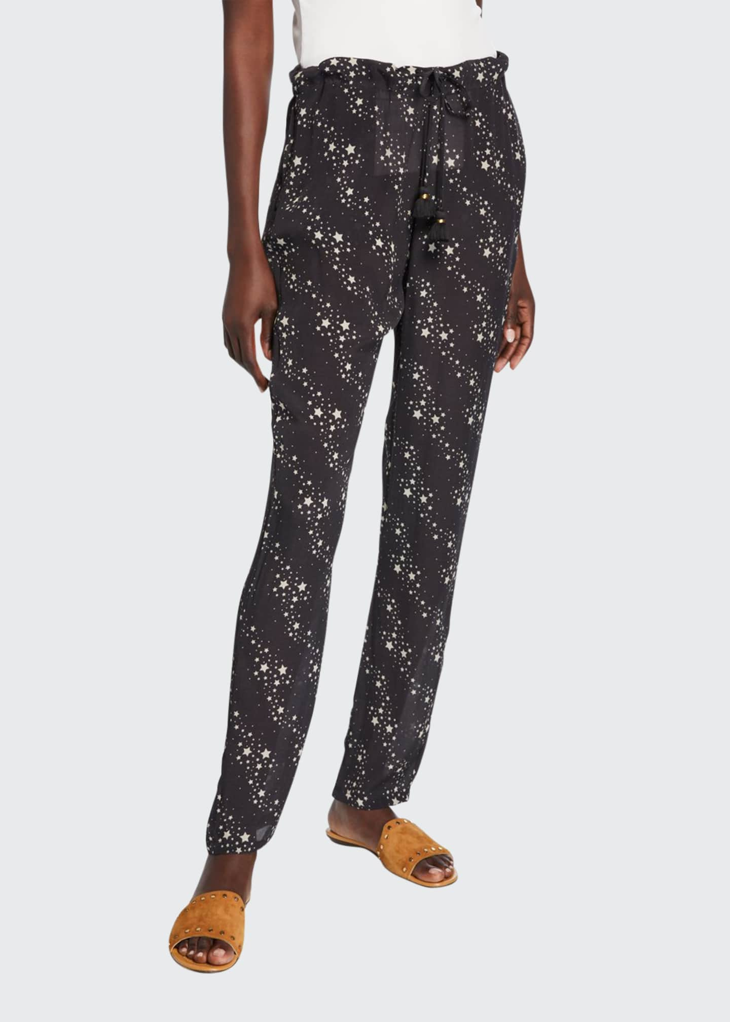 Figue Alexa Star-Print Crepe de Chine Pants