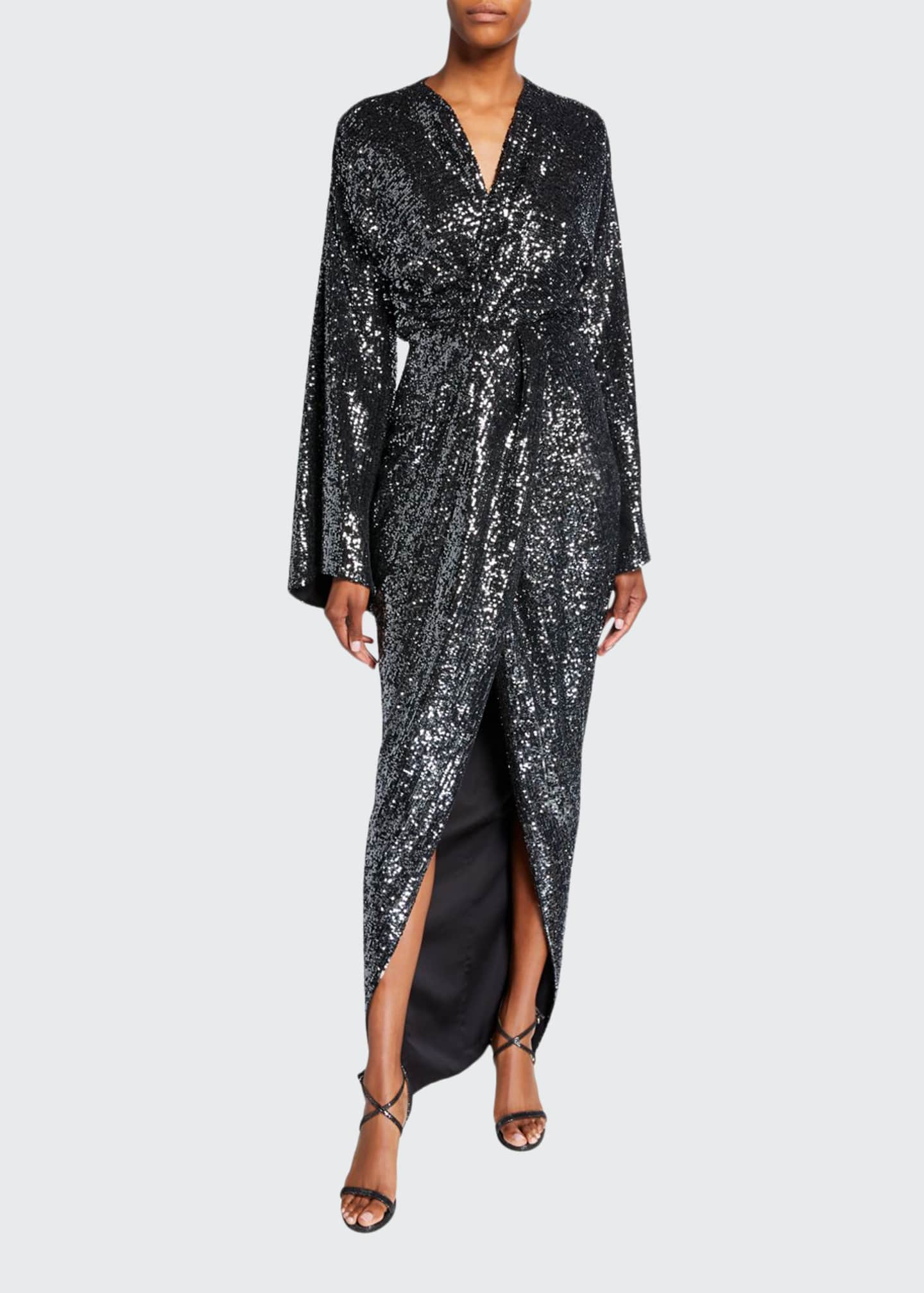 Rasario Sequined Twisted Robe Gown
