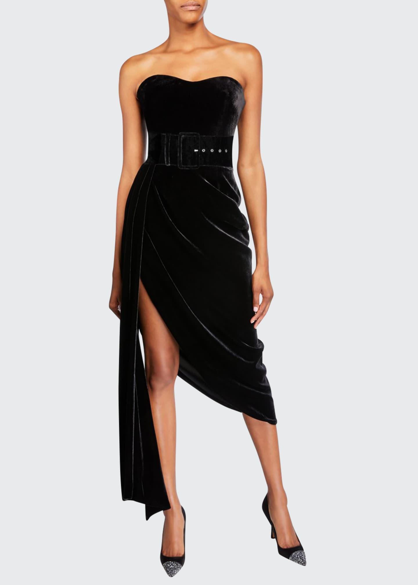 Rasario Strapless Velvet Draped-Side Dress