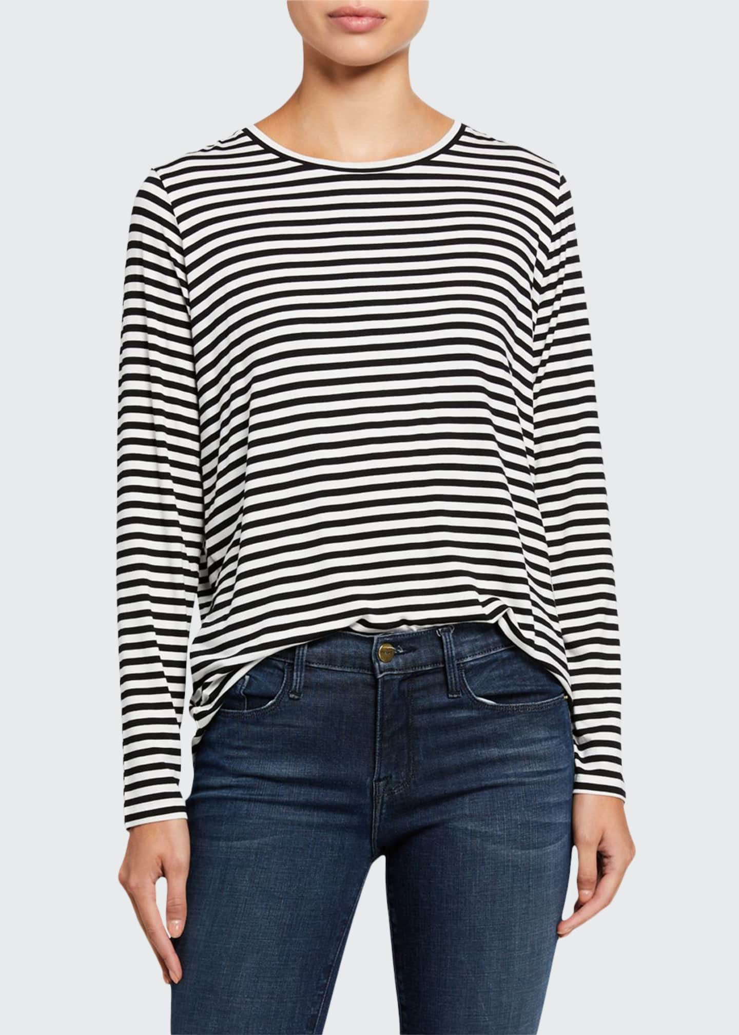 Majestic Soft Touch Striped Long Sleeve Relaxed Tee