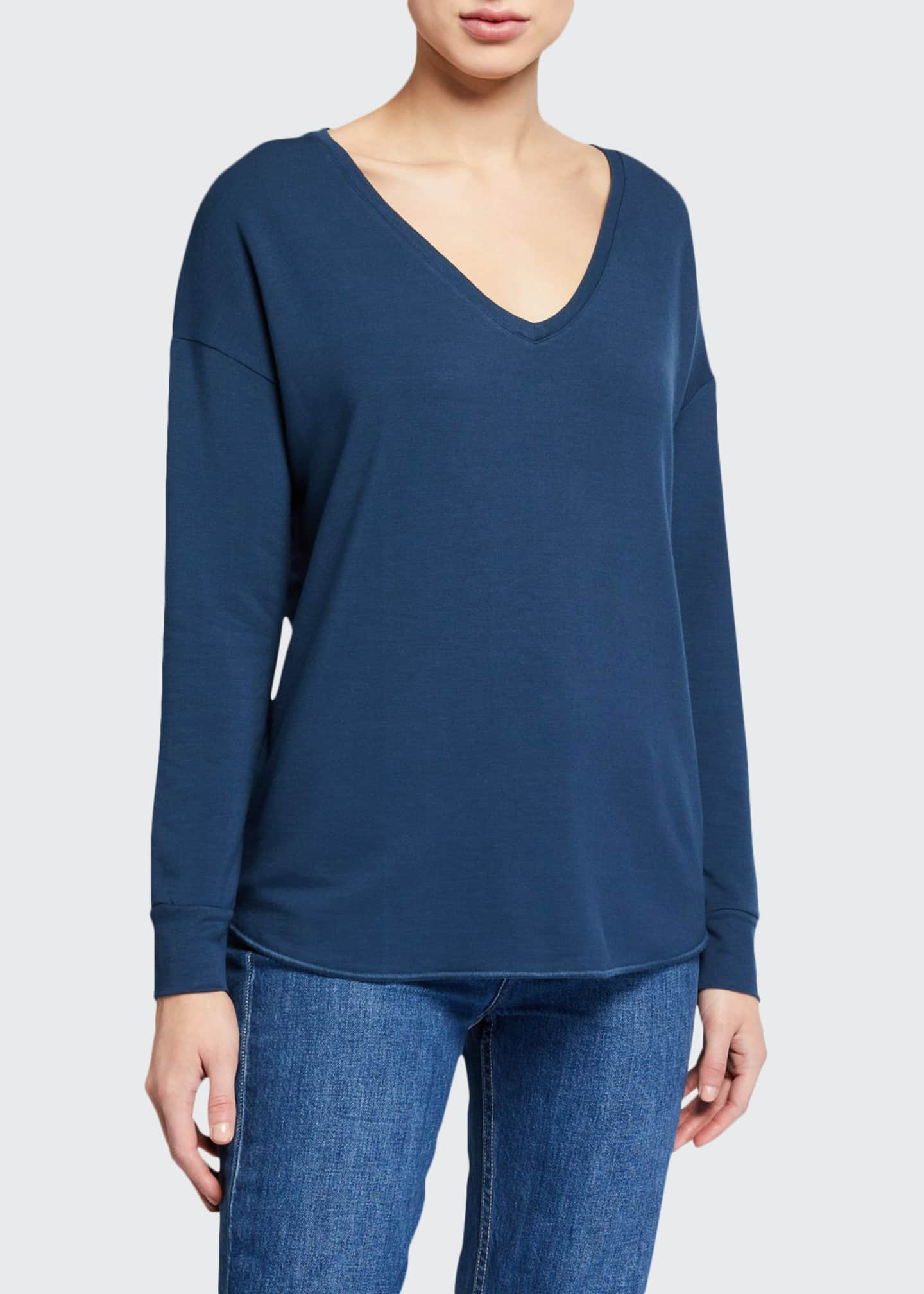 Majestic French-Terry V-Neck Drop-Shoulder Long-Sleeve T-Shirt