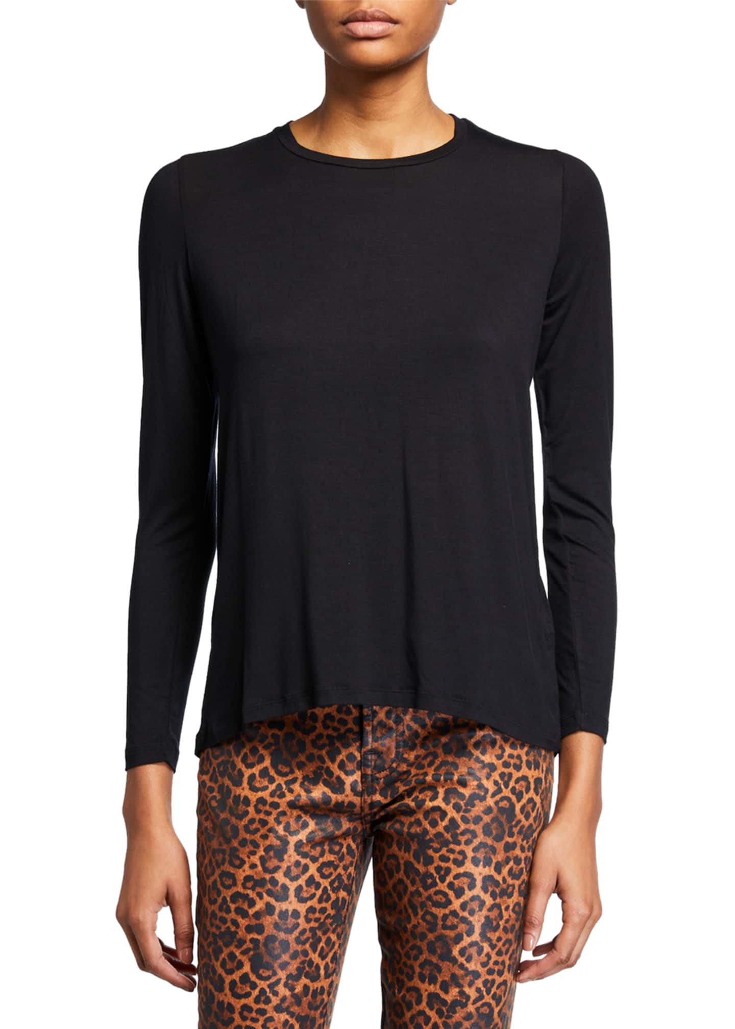 Majestic Crewneck Long-Sleeve Top with Back Pleat
