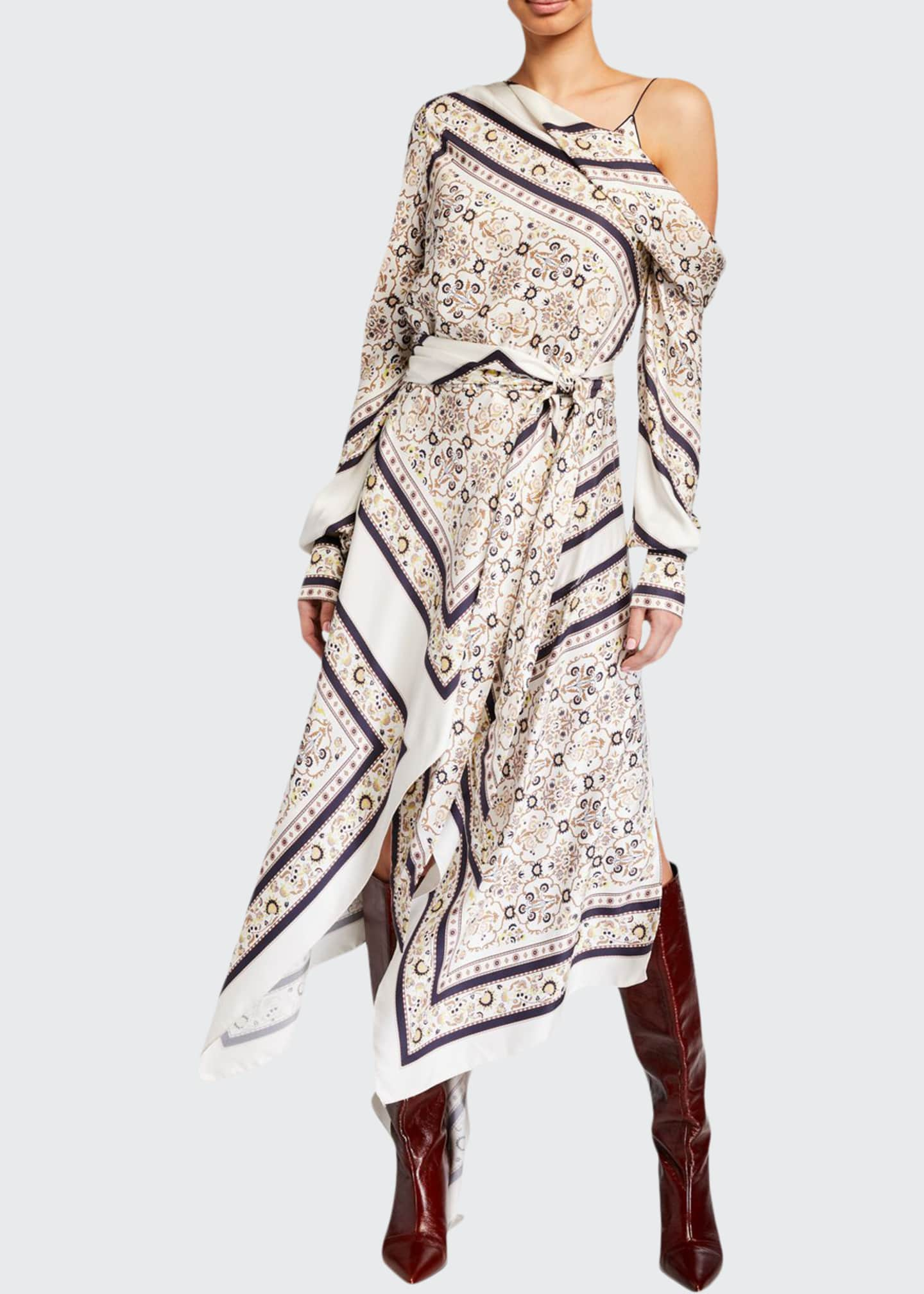 Image 1 of 2: Scarf Print One-Shoulder Dress