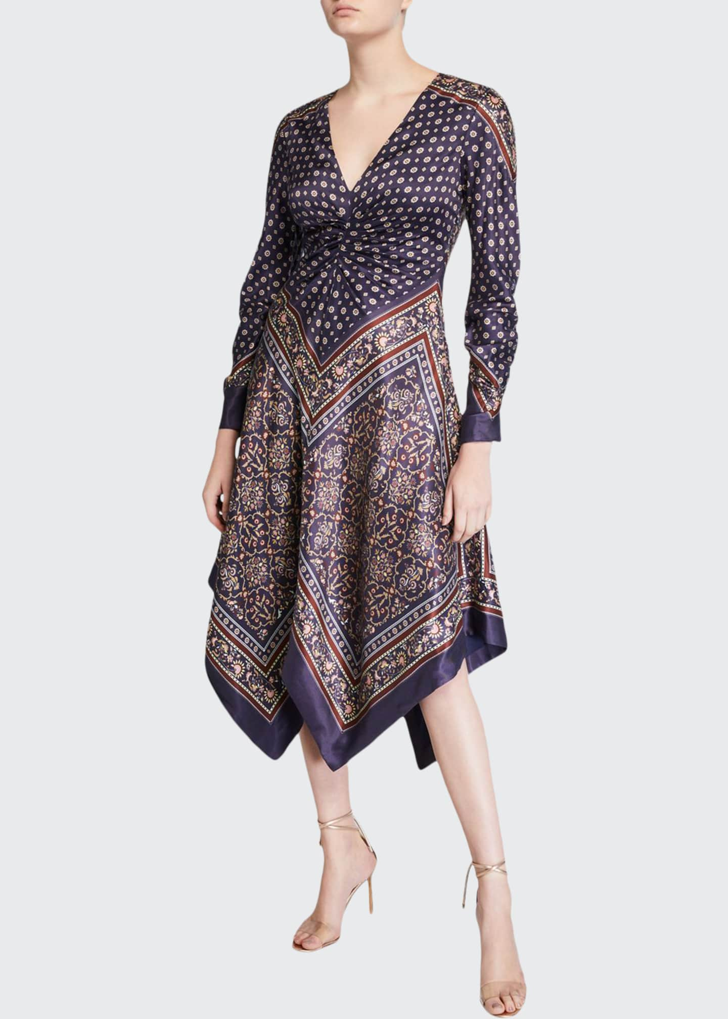 Image 1 of 2: Scarf-Print Deep-V Handkerchief Dress