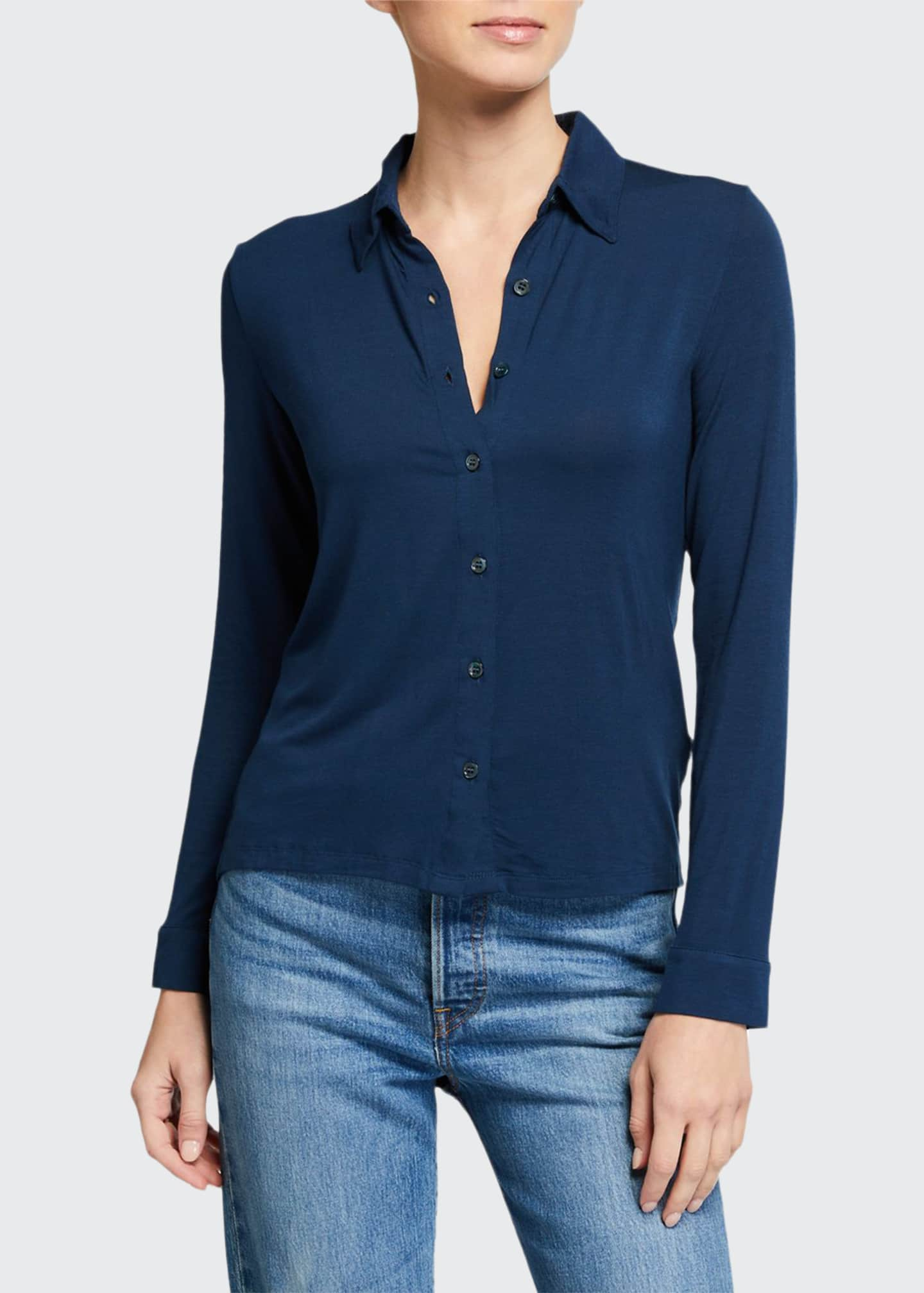 Majestic Filatures Long-Sleeve Button-Down Shirt with Back Pleat