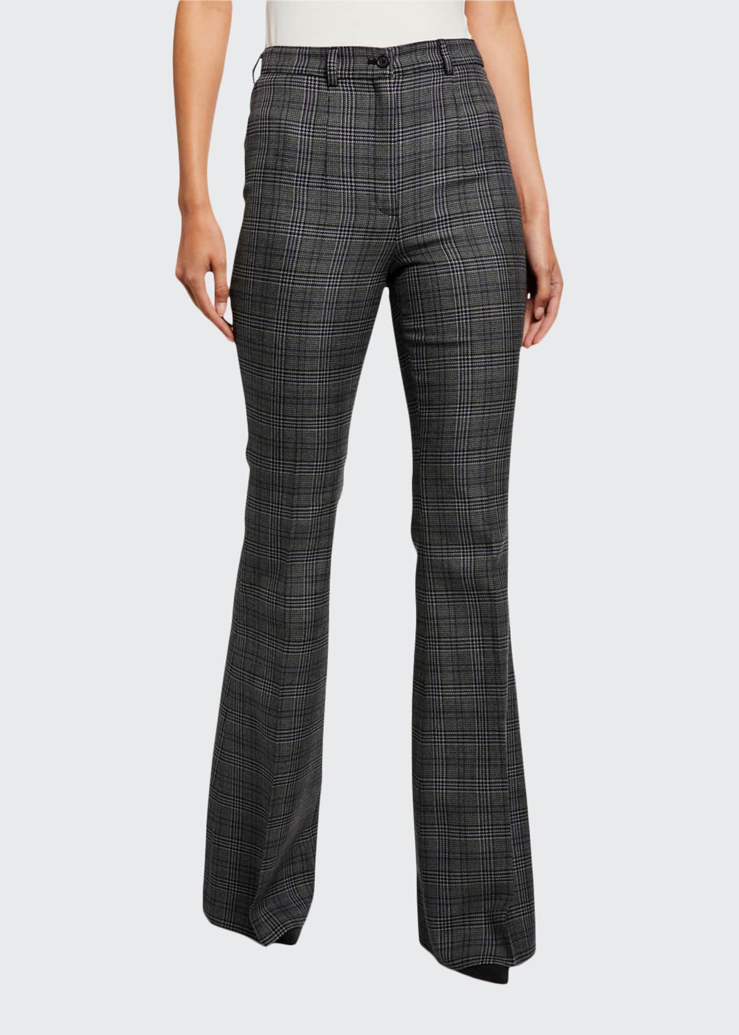 Michael Kors Collection Glen-Plaid High-Rise Wool Flare Pants