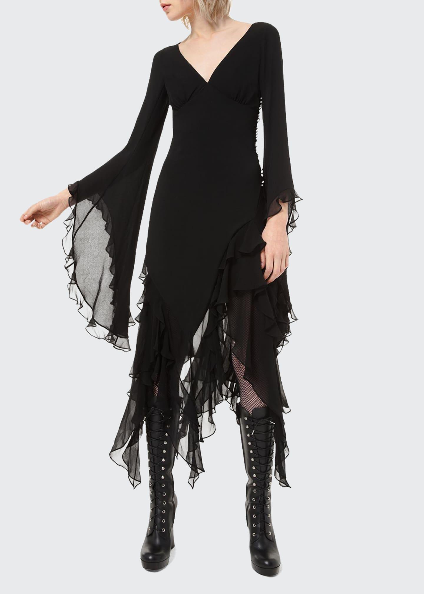 Michael Kors Collection Ruffled Chiffon Bias Midi Dress