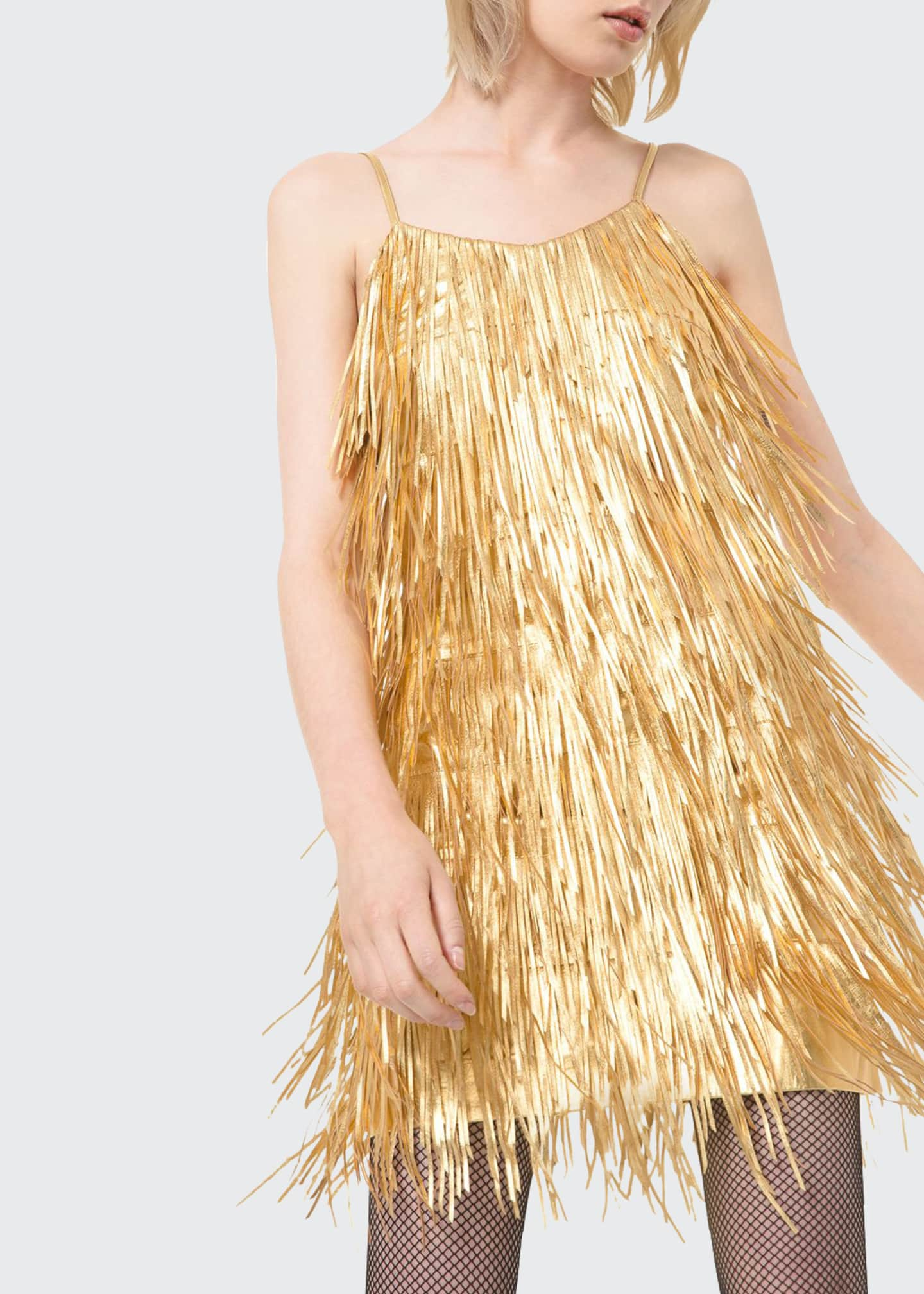 Image 1 of 2: Metallic Fringed-Leather Slip Dress
