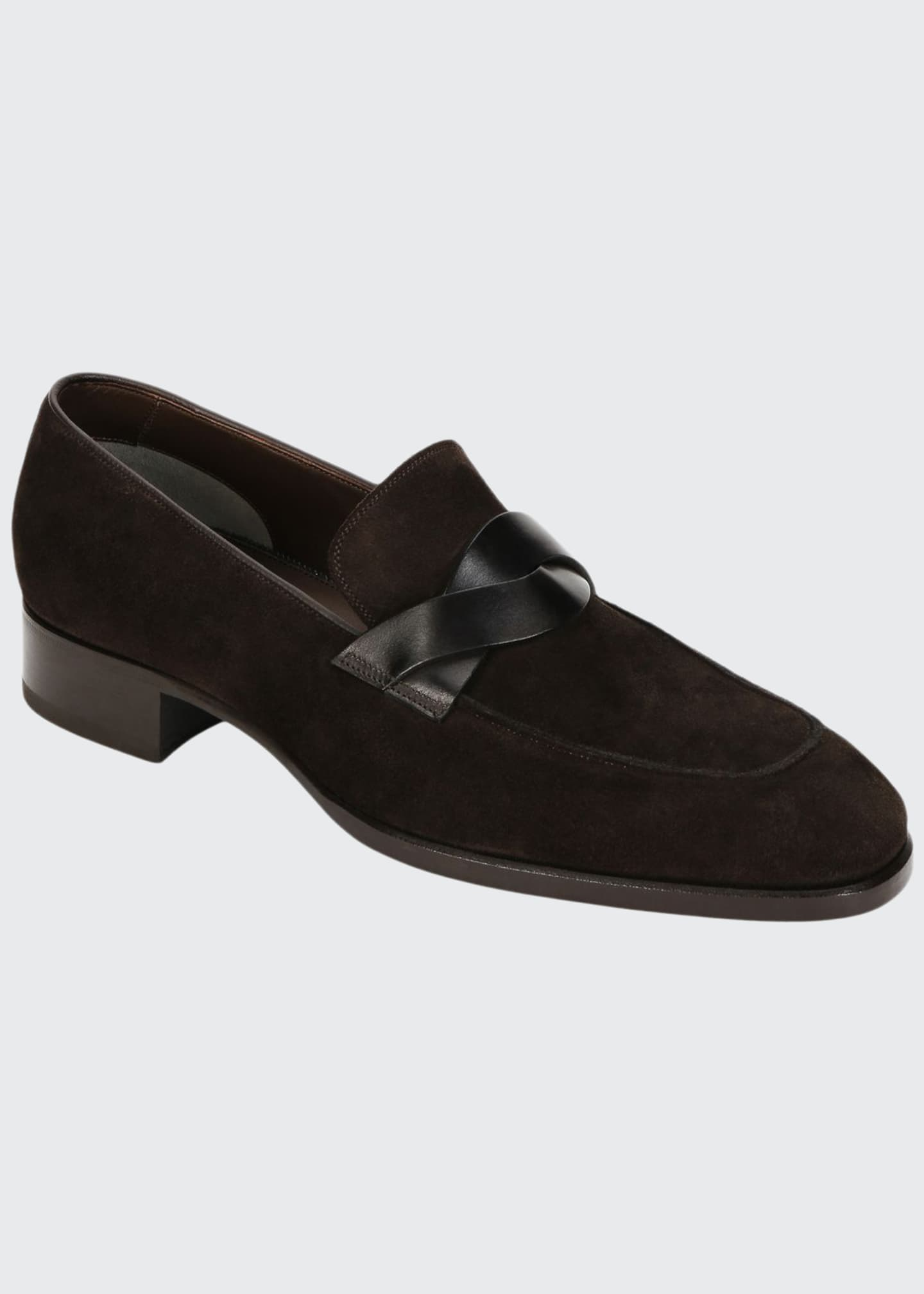 Image 1 of 3: Men's Twisted Strap Suede Loafers