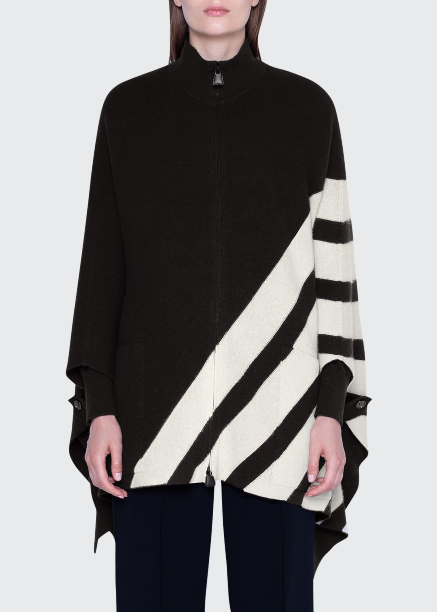 Image 1 of 2: Cashmere Diagonal-Striped Cape Sweater