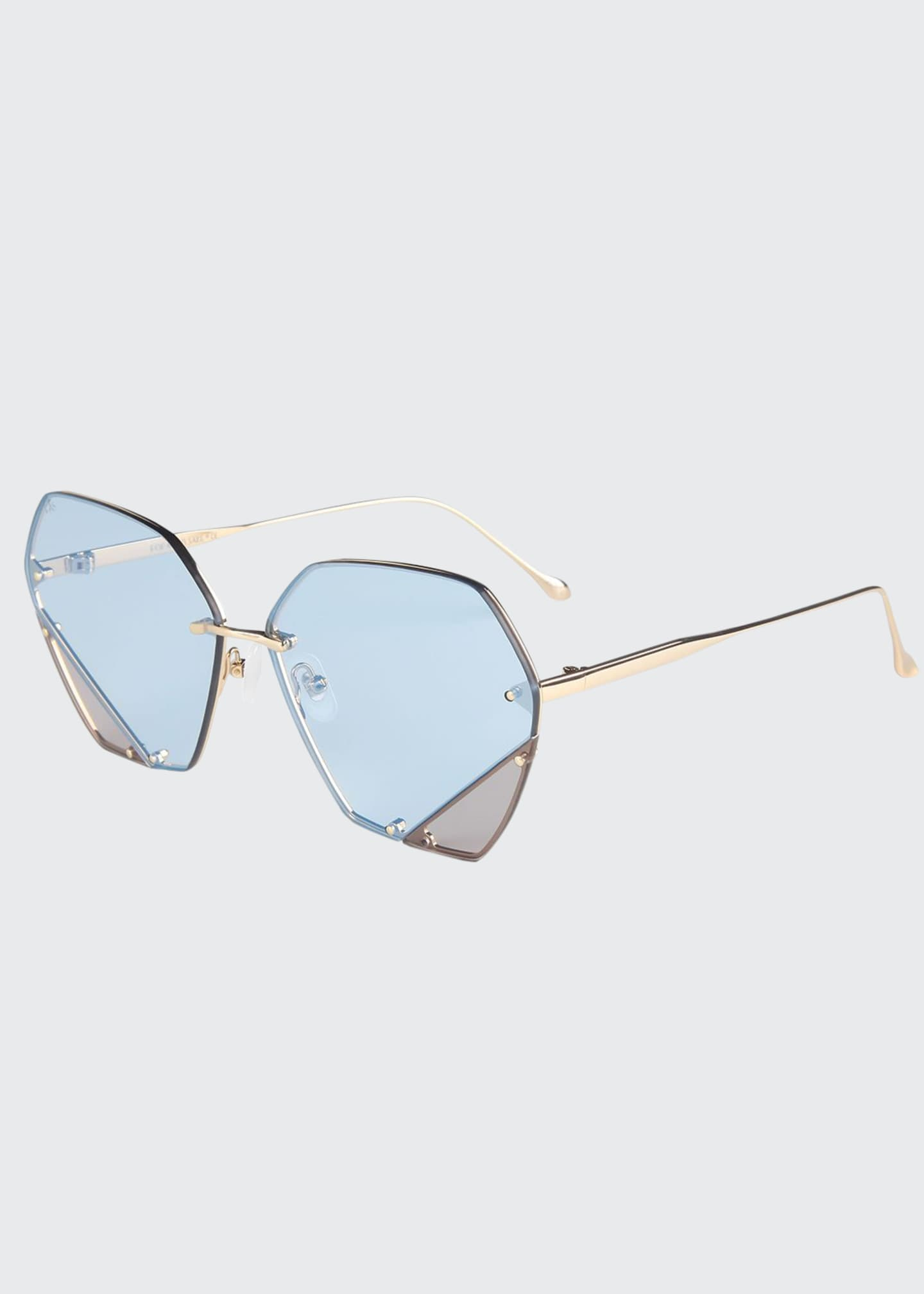 For Art's Sake Rimless Two-Tone Square Sunglasses