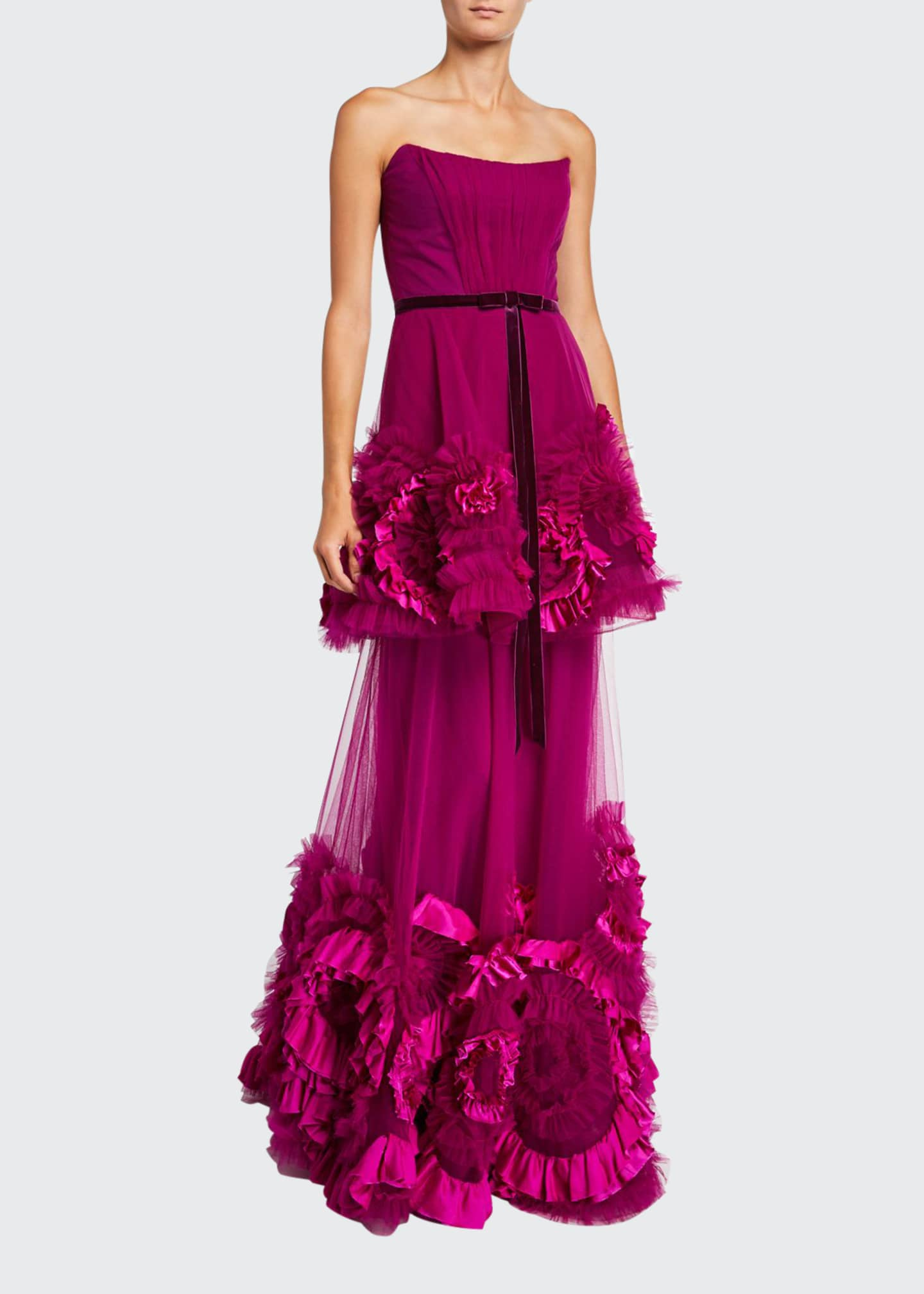 Marchesa Notte Strapless Mixed Media Textured Tiered Gown