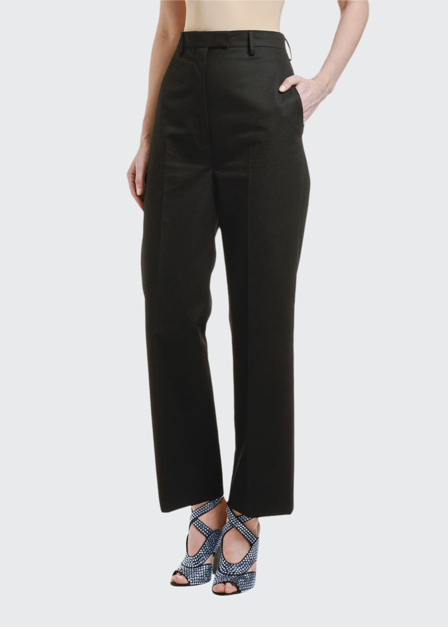Prada High-Rise Straight-Leg Pants