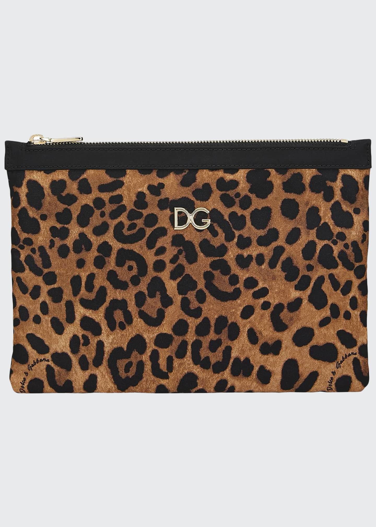 Dolce & Gabbana Leopard-Print Nylon Pouch Bag