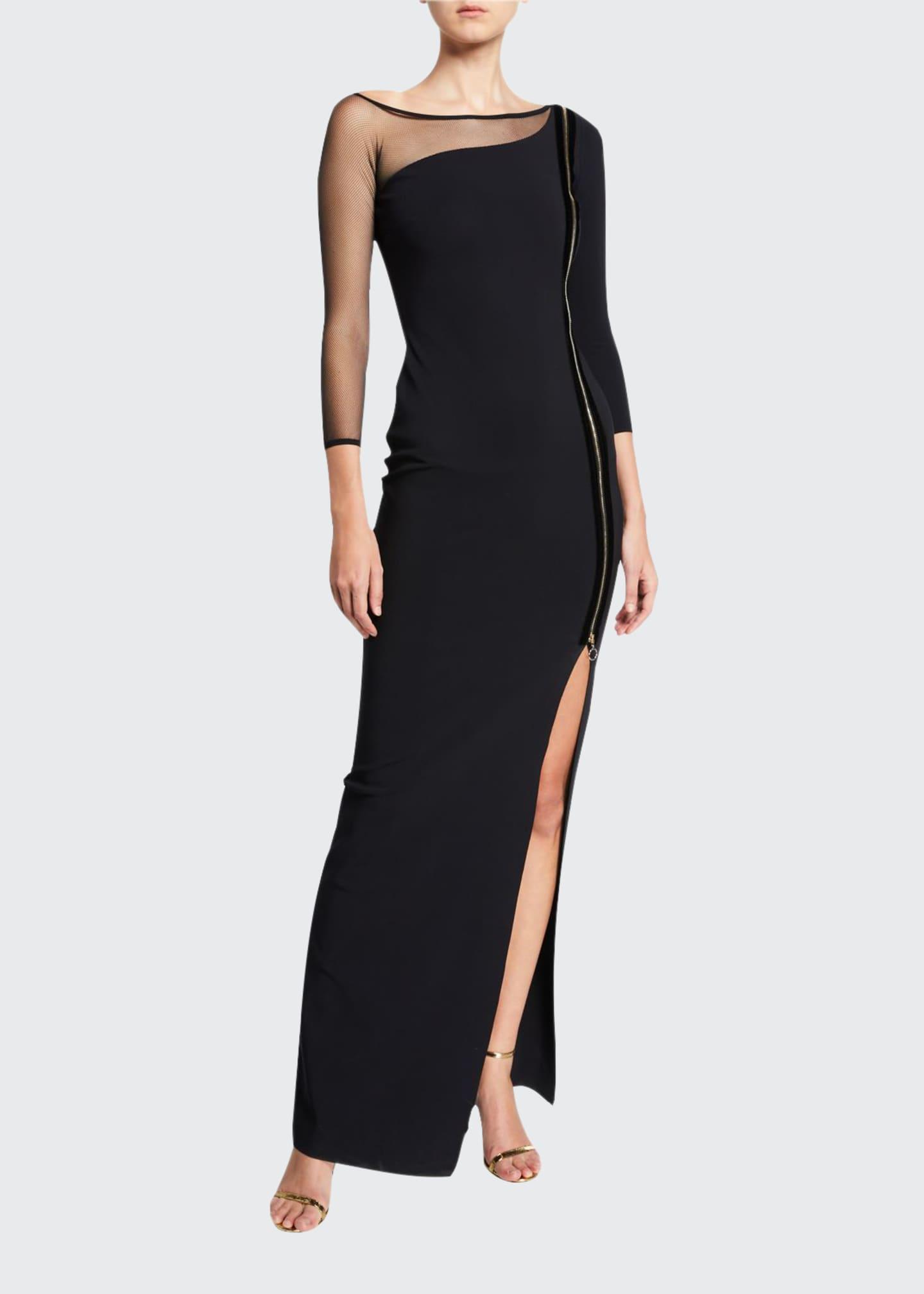 Chiara Boni La Petite Robe Asymmetric Zip-Front 3/4-Sleeve