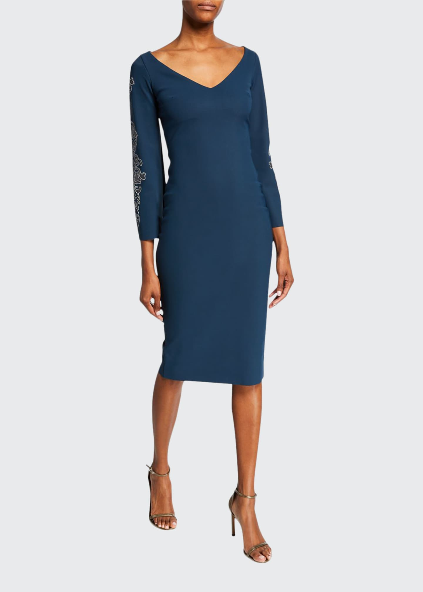 Chiara Boni La Petite Robe V-Neck Long-Sleeve Sheath