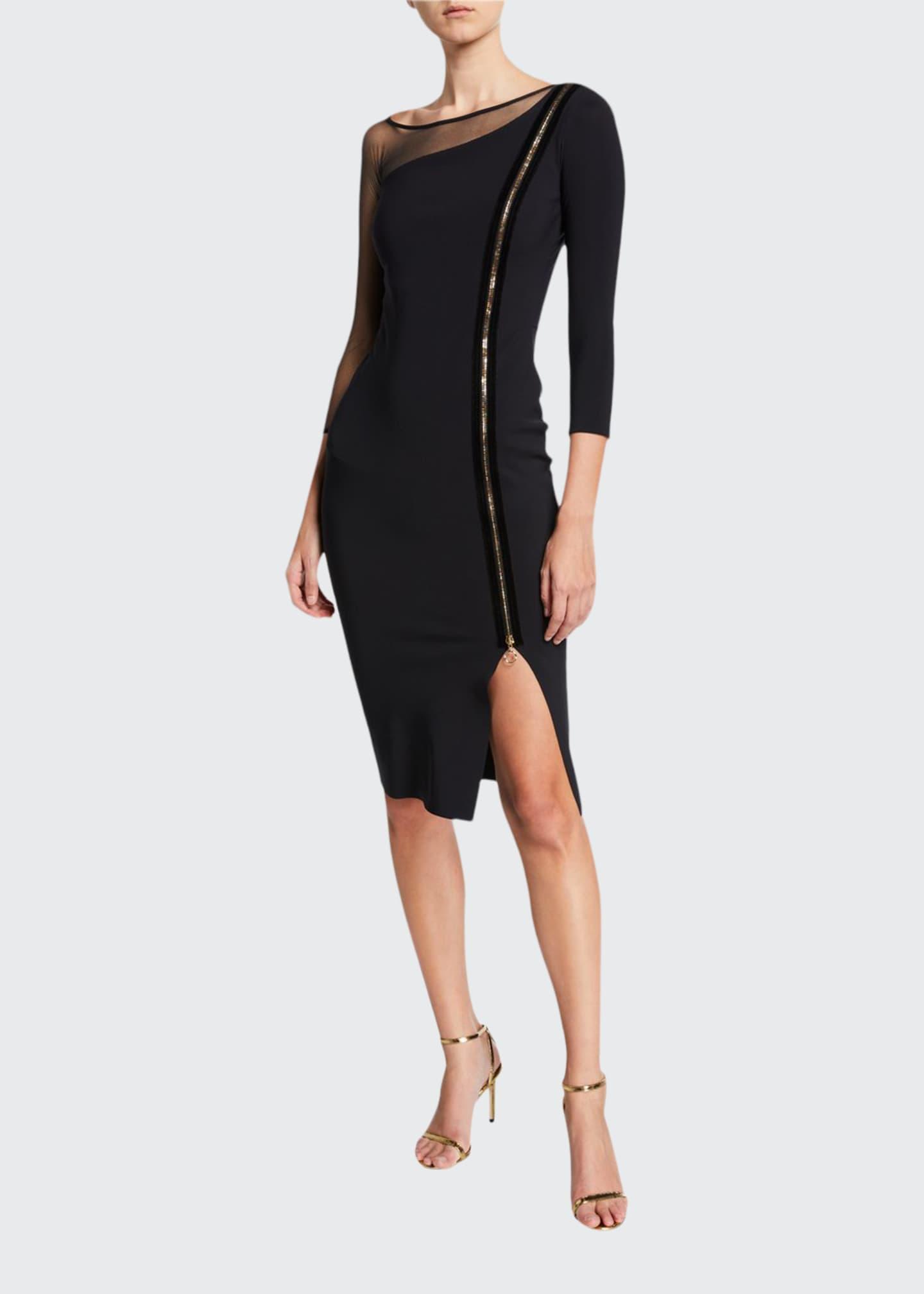 Chiara Boni La Petite Robe 3/4-Sleeve Asymmetric Zip-Front