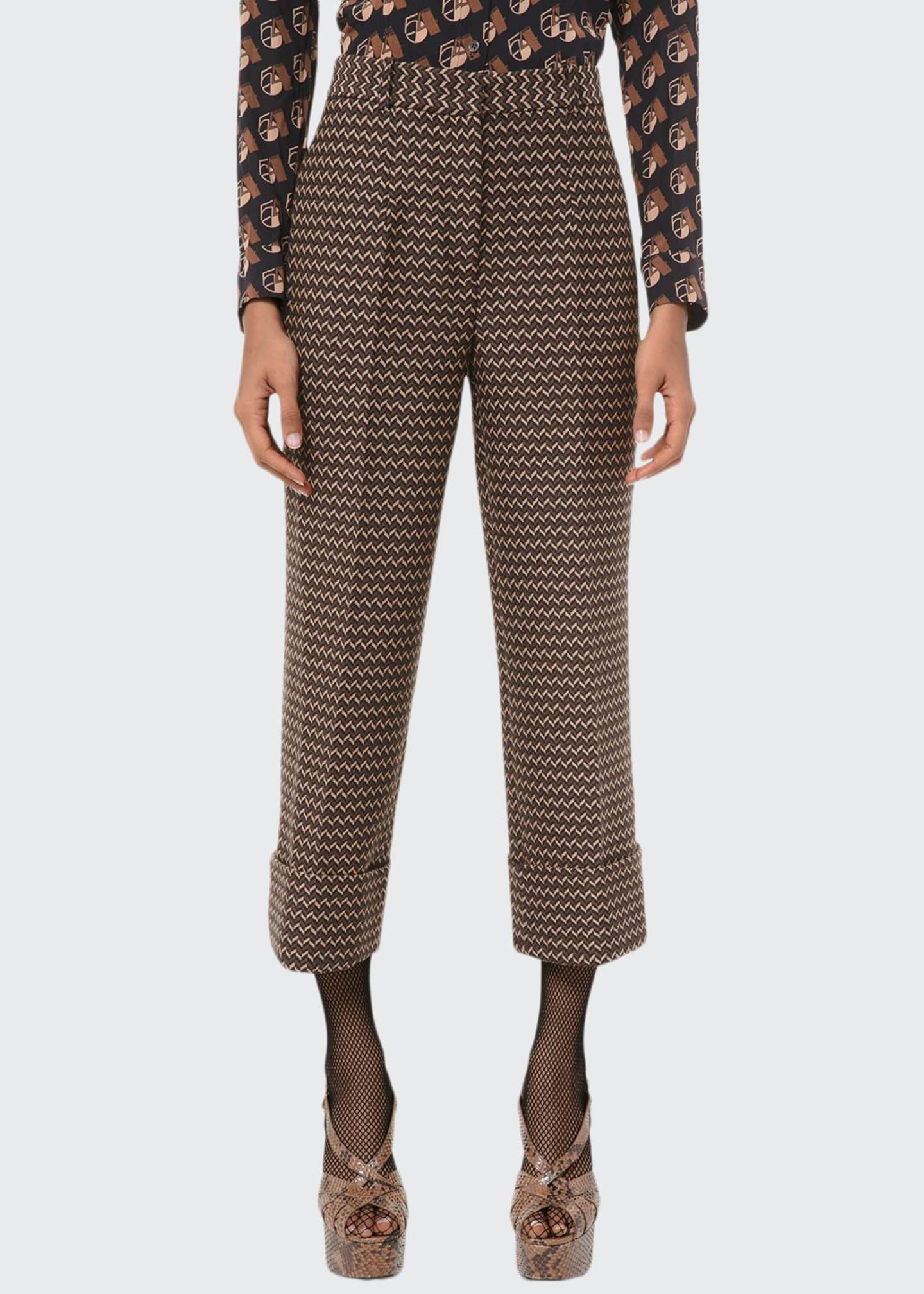Michael Kors Collection Chevron Cropped Cuffed Pants