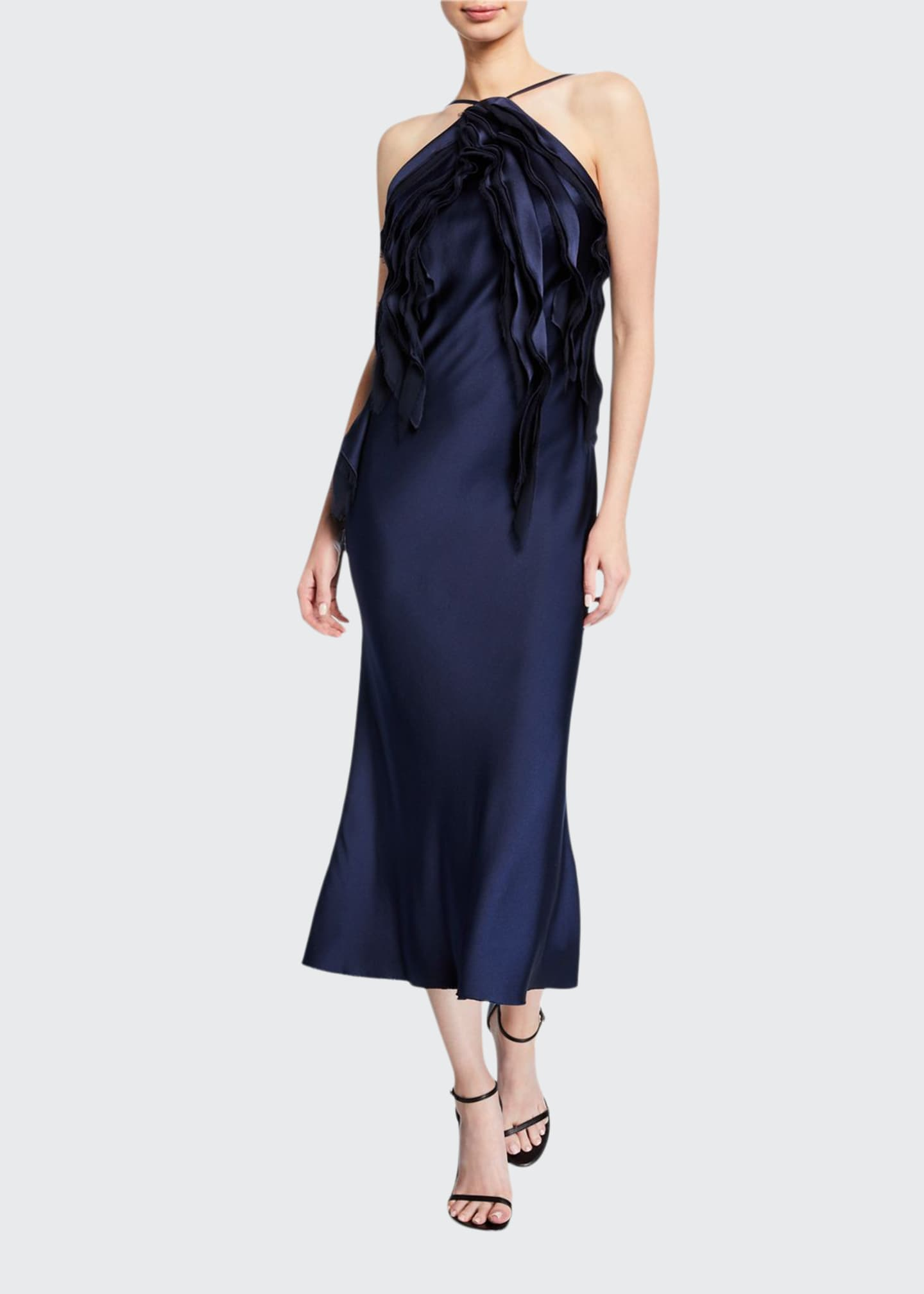 Jason Wu Collection Satin Ruffled-Front Halter Dress