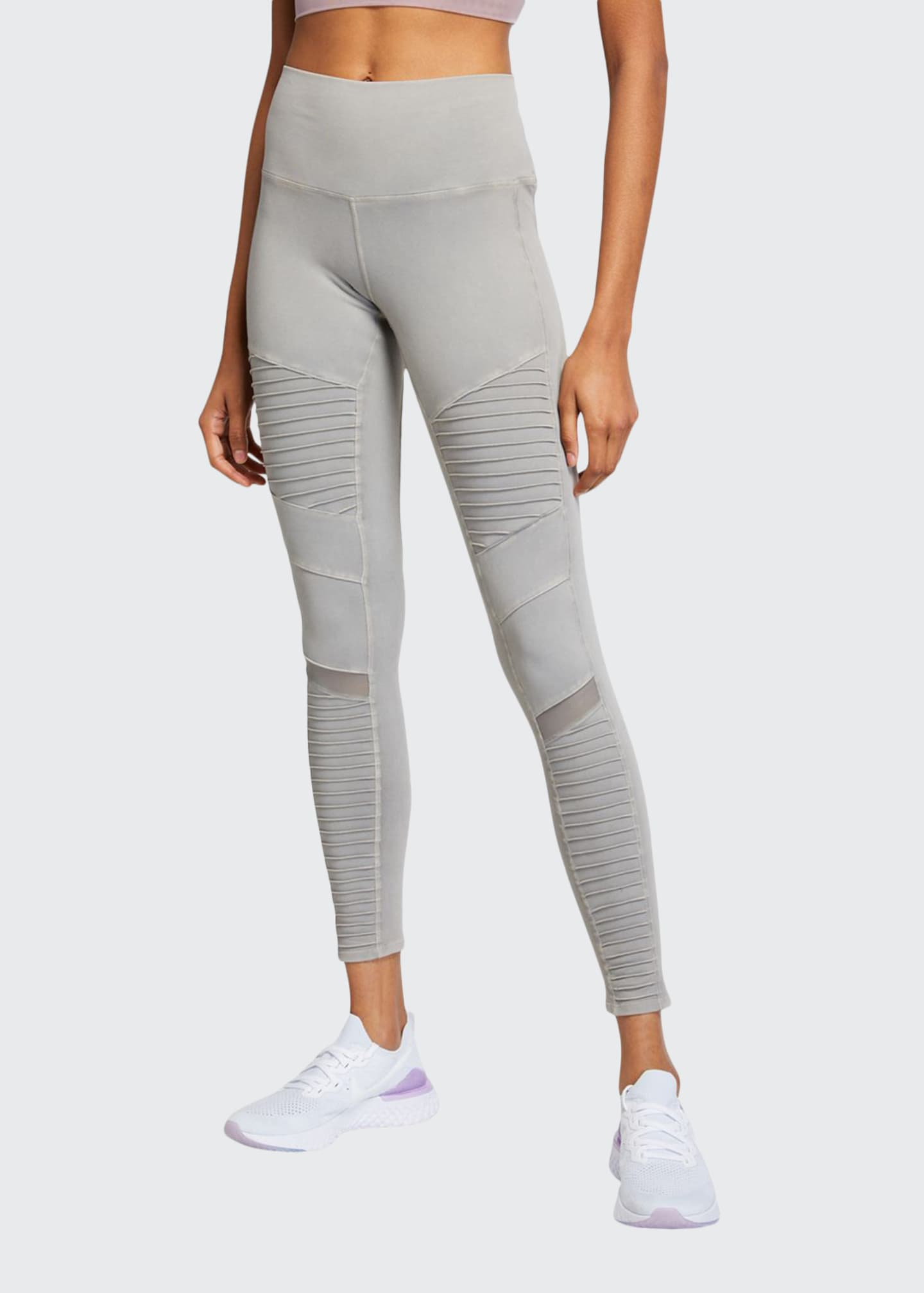 Image 1 of 3: High-Waist Washed Moto Leggings