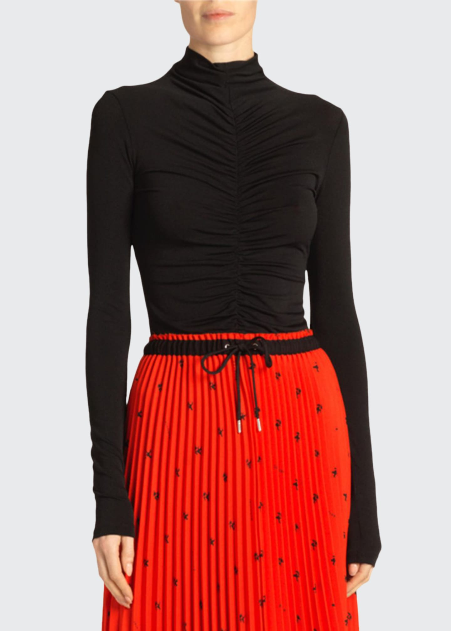 Proenza Schouler White Label Open-Back Fitted Ruched Turtleneck