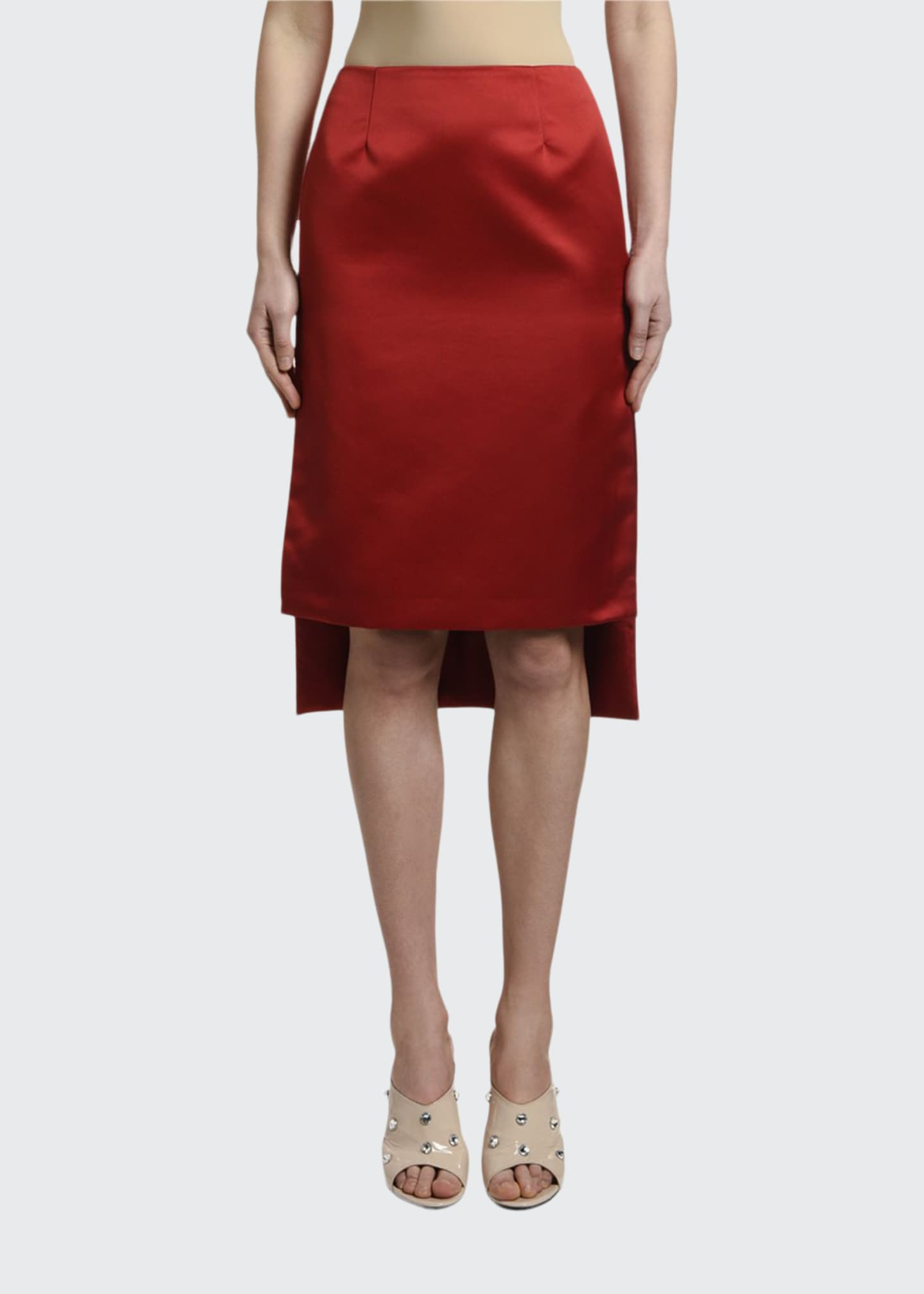 Image 1 of 3: High-Low Satin Pencil Skirt
