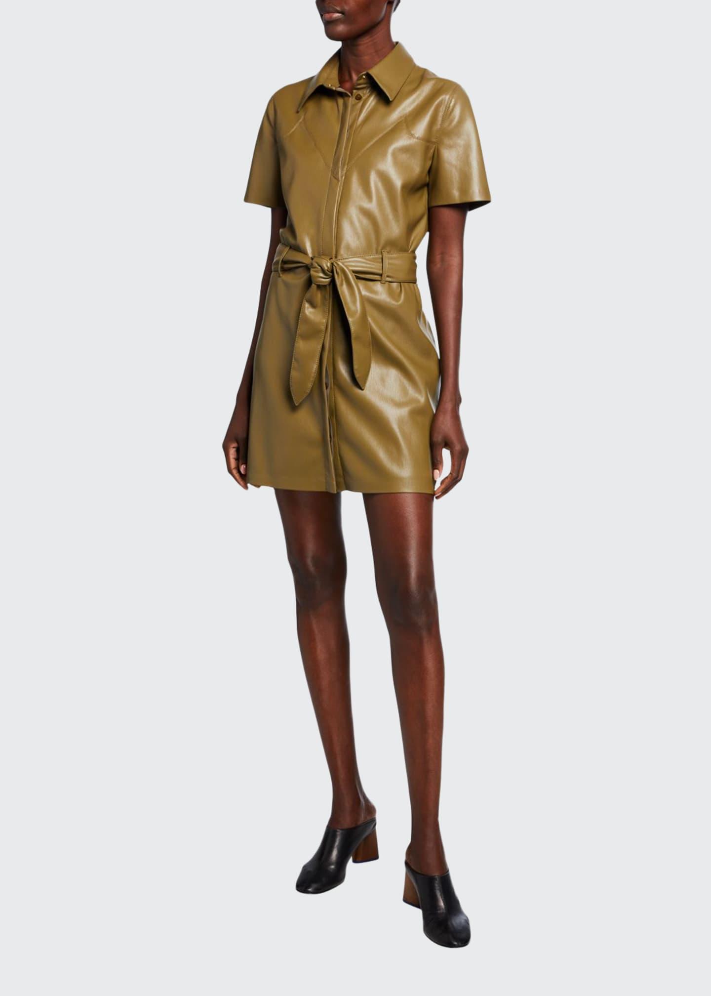 Nanushka Roberta Faux-Leather Belted Mini Dress