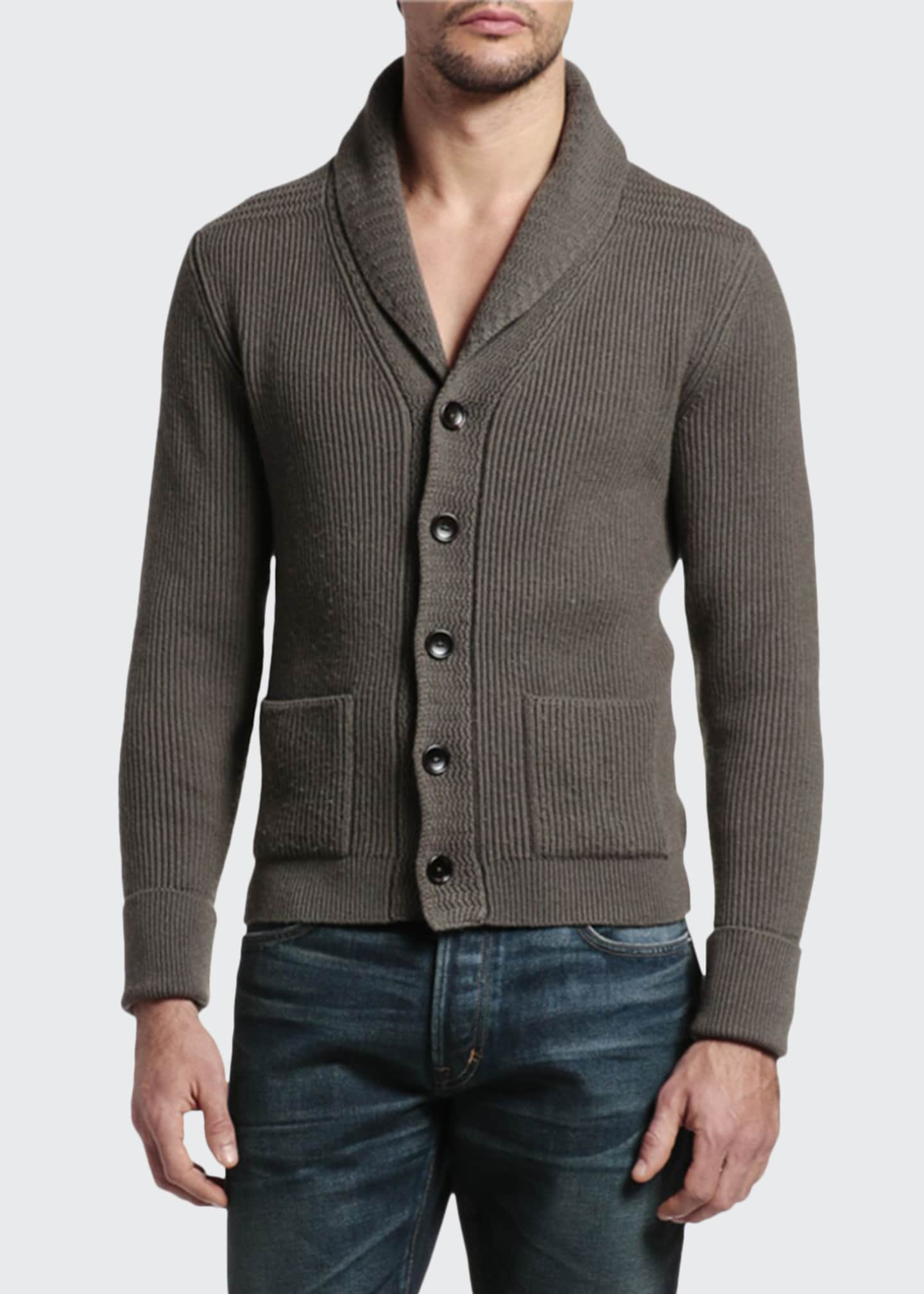Image 1 of 4: Men's Cashmere Shawl-Collar Cardigan Sweater