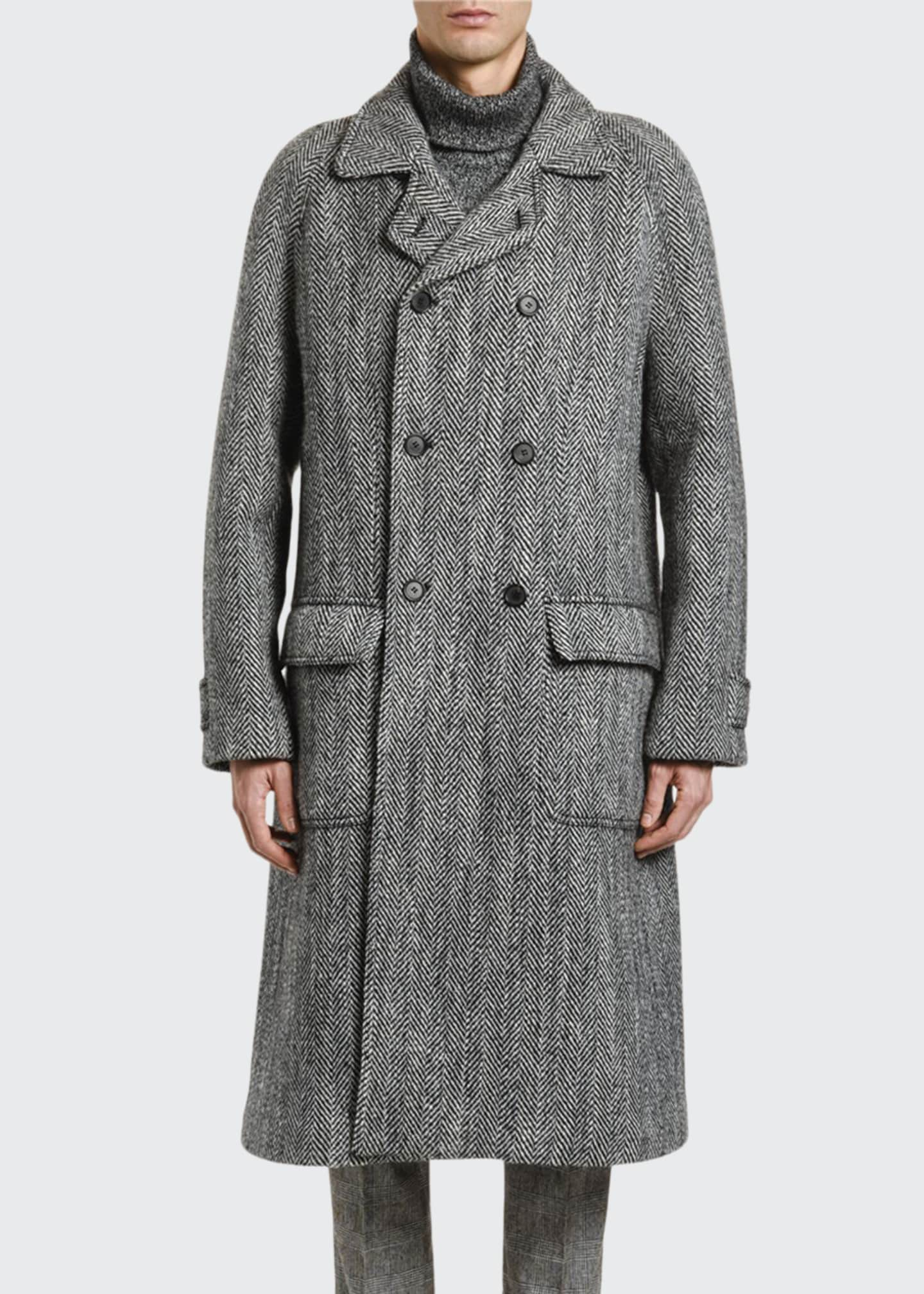Image 1 of 3: Men's Herringbone Oversized Wool Coat
