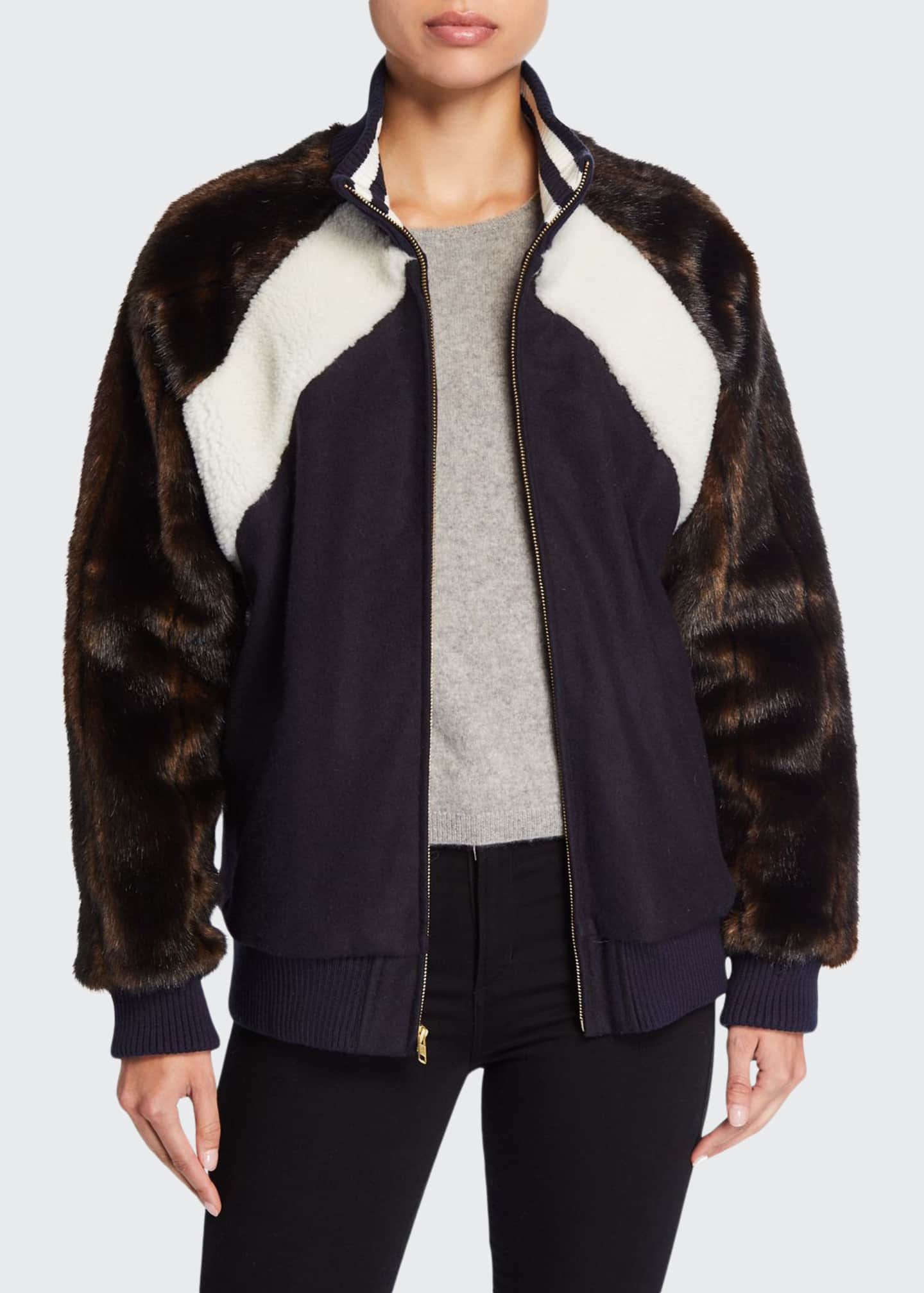Harvey Faircloth Faux-Fur Varsity Bomber Jacket
