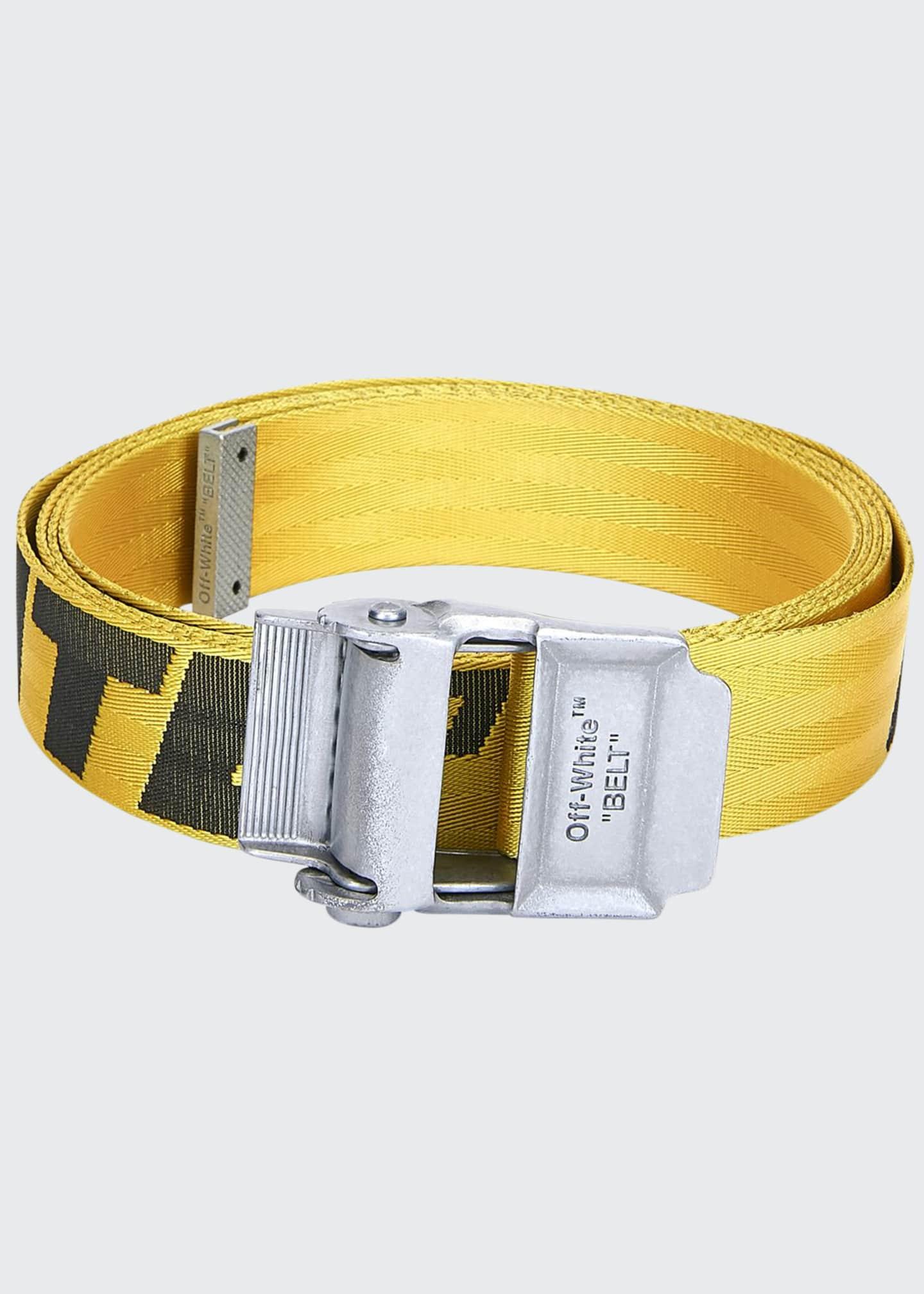 Off-White Men's Industrial Web Logo Belt, Yellow/Black - Bergdorf