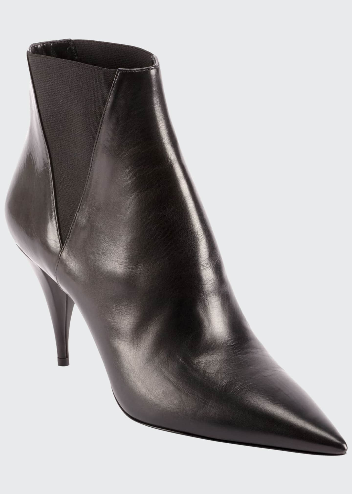 Image 1 of 4: Kiki Pointed Toe Leather Booties