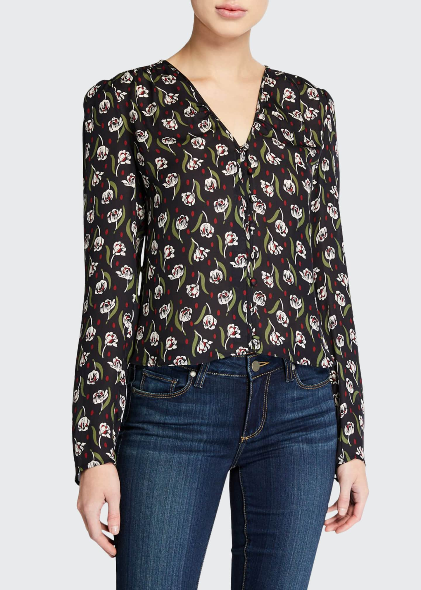 Veronica Beard Ashville Floral V-Neck Long-Sleeve Silk Blouse