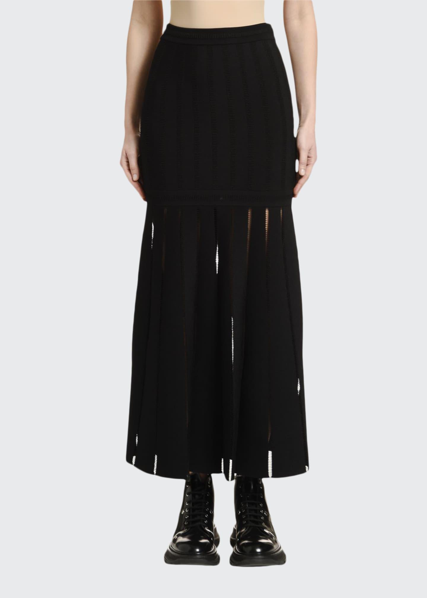 Alexander McQueen Sheer-Striped Midi Skirt