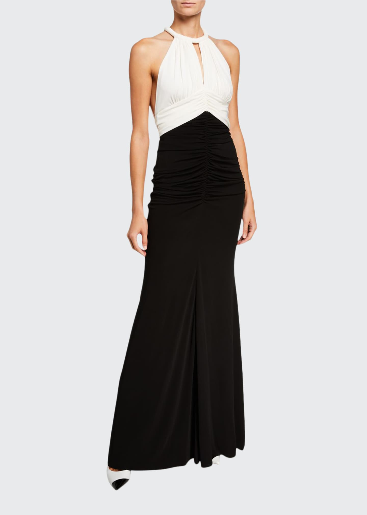 Image 1 of 2: Ruched Two-Tone Jersey Halter-Neck Gown