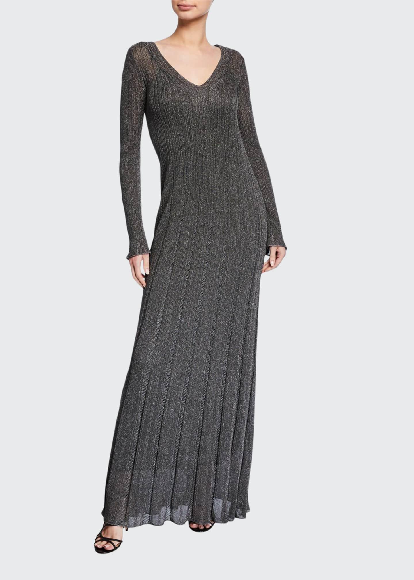 M Missoni Unito Metallic V-Neck Long-Sleeve Dress
