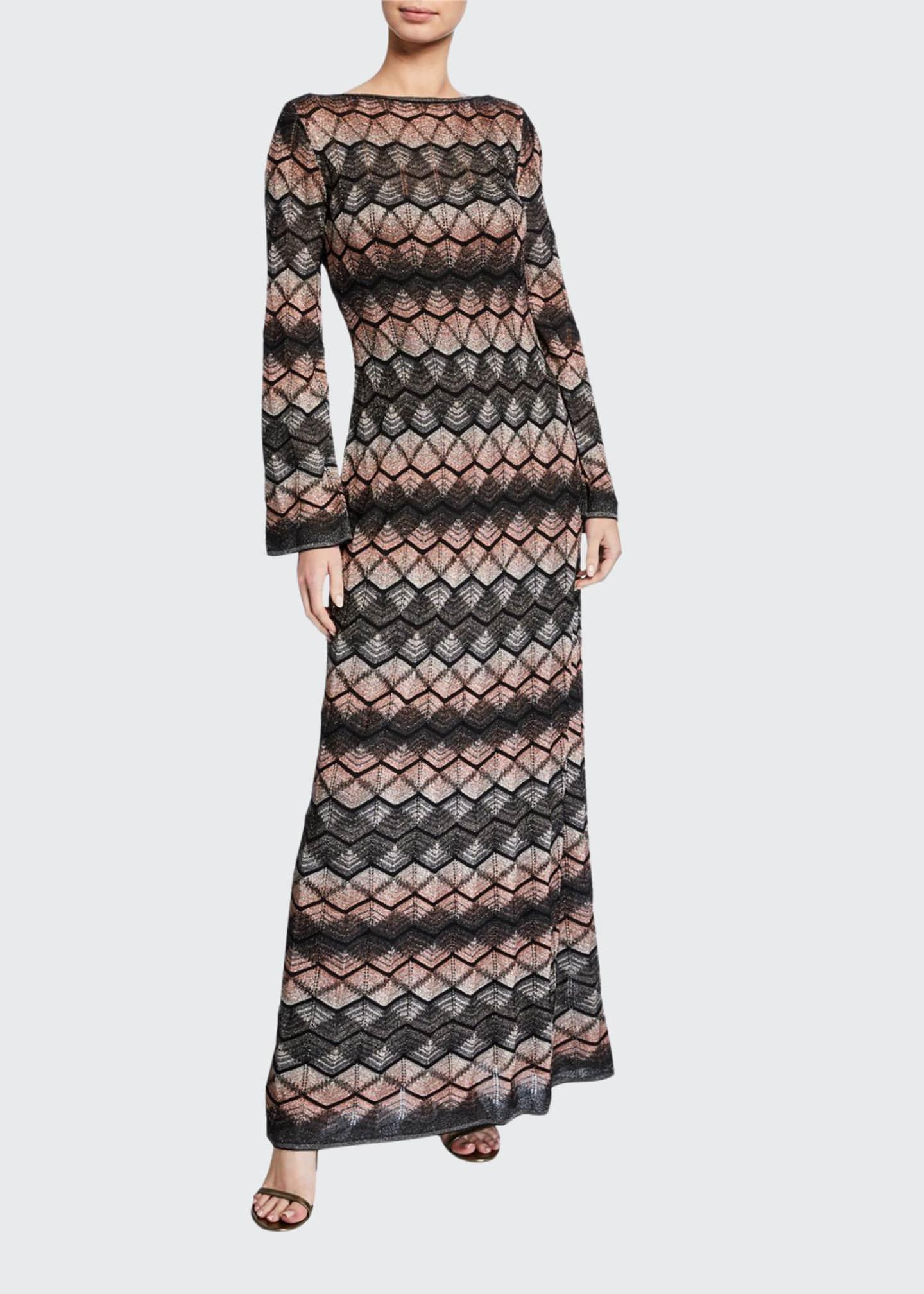 M Missoni Zigzag Long-Sleeve Scoop-Back Long Dress