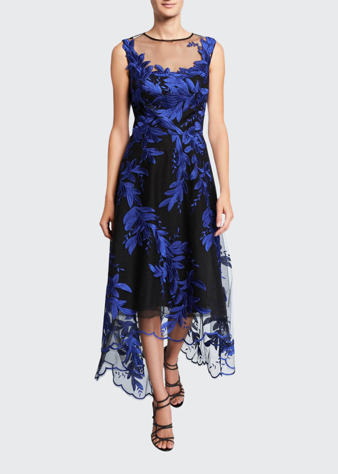 Image 1 of 2: Embroidered High-Low Tulle Dress