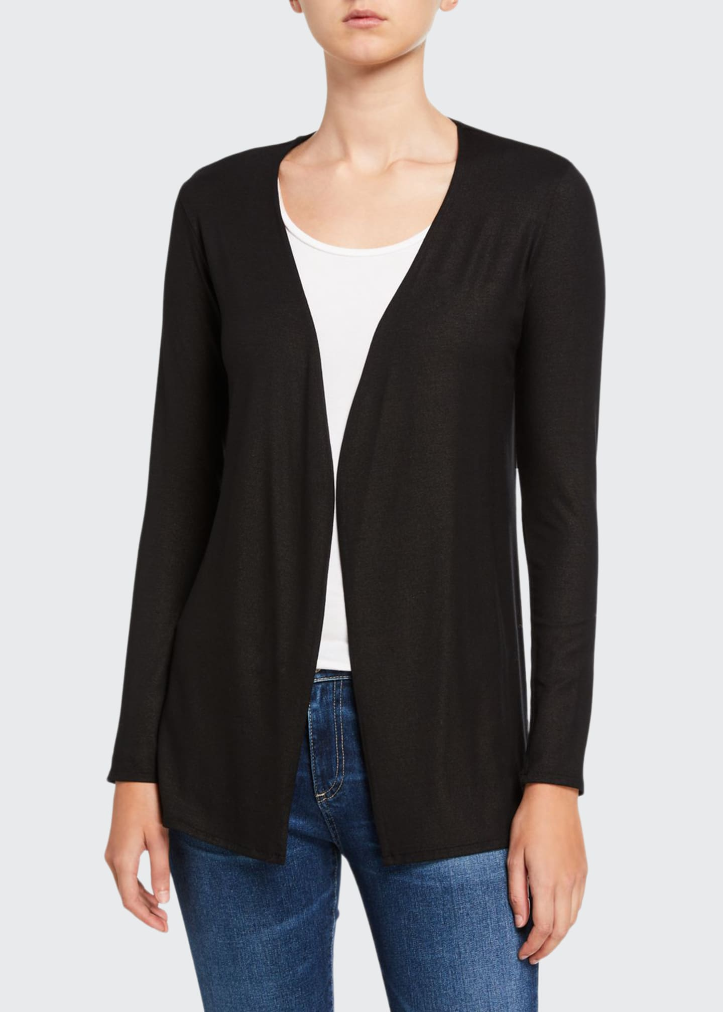 Image 1 of 2: Metallic Open-Front Long-Sleeve Cardigan