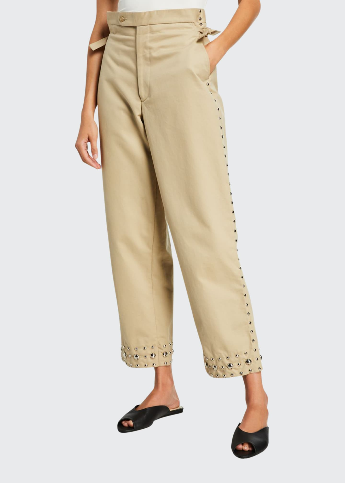 Bode Studded Khaki Side-Tie Trousers