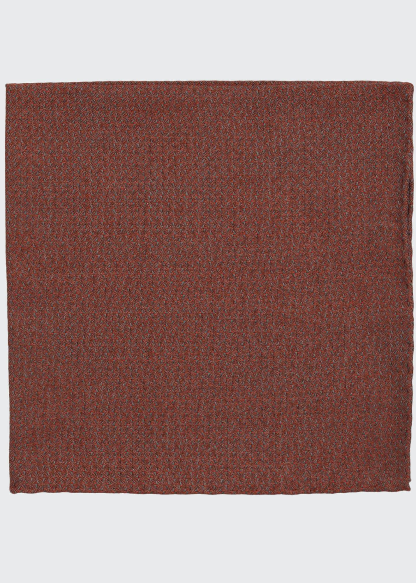 Simonnot Godard Jacquard Woven Pocket Square, Red