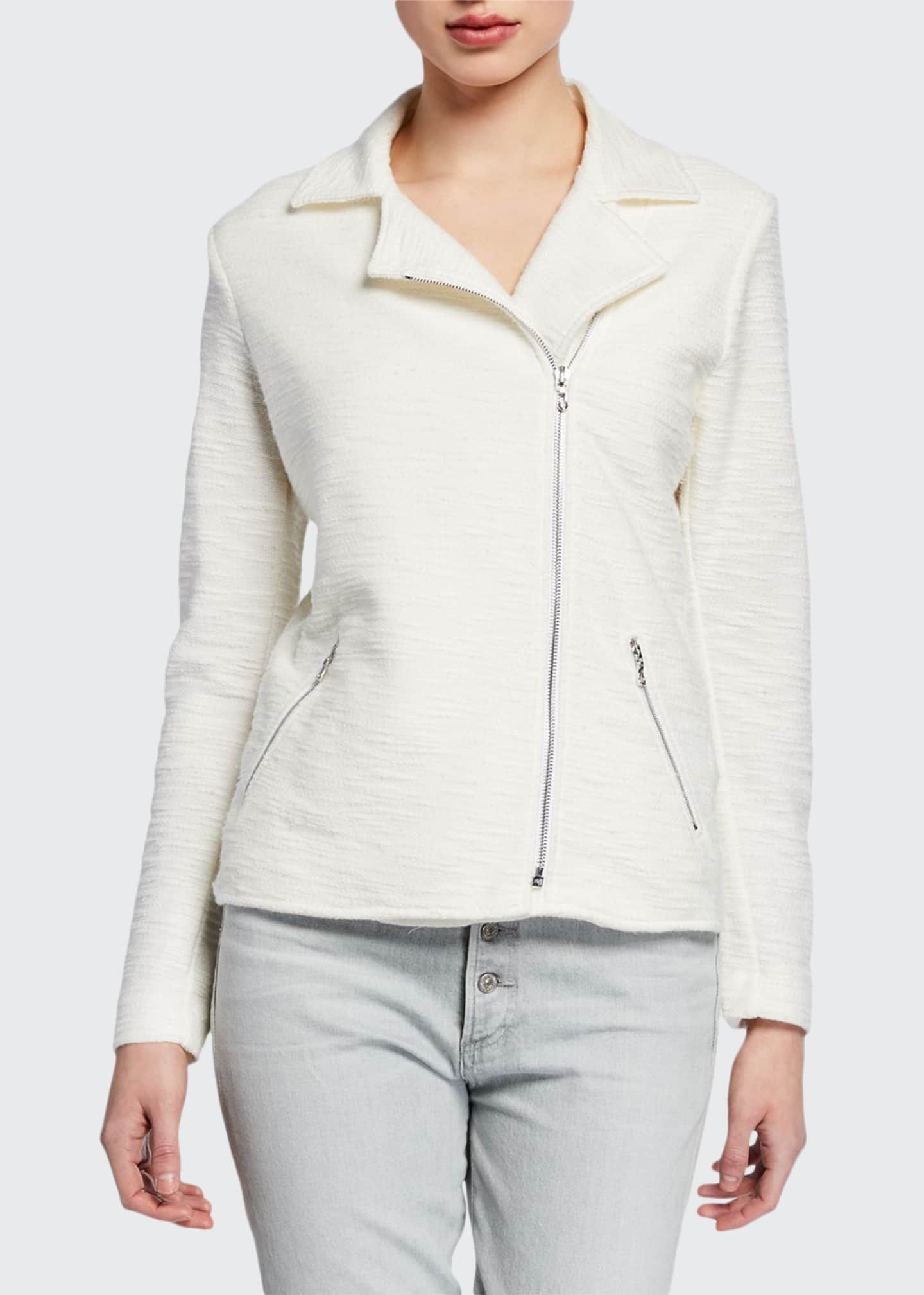 Cotton/Cashmere Textured Long-Sleeve Moto Jacket
