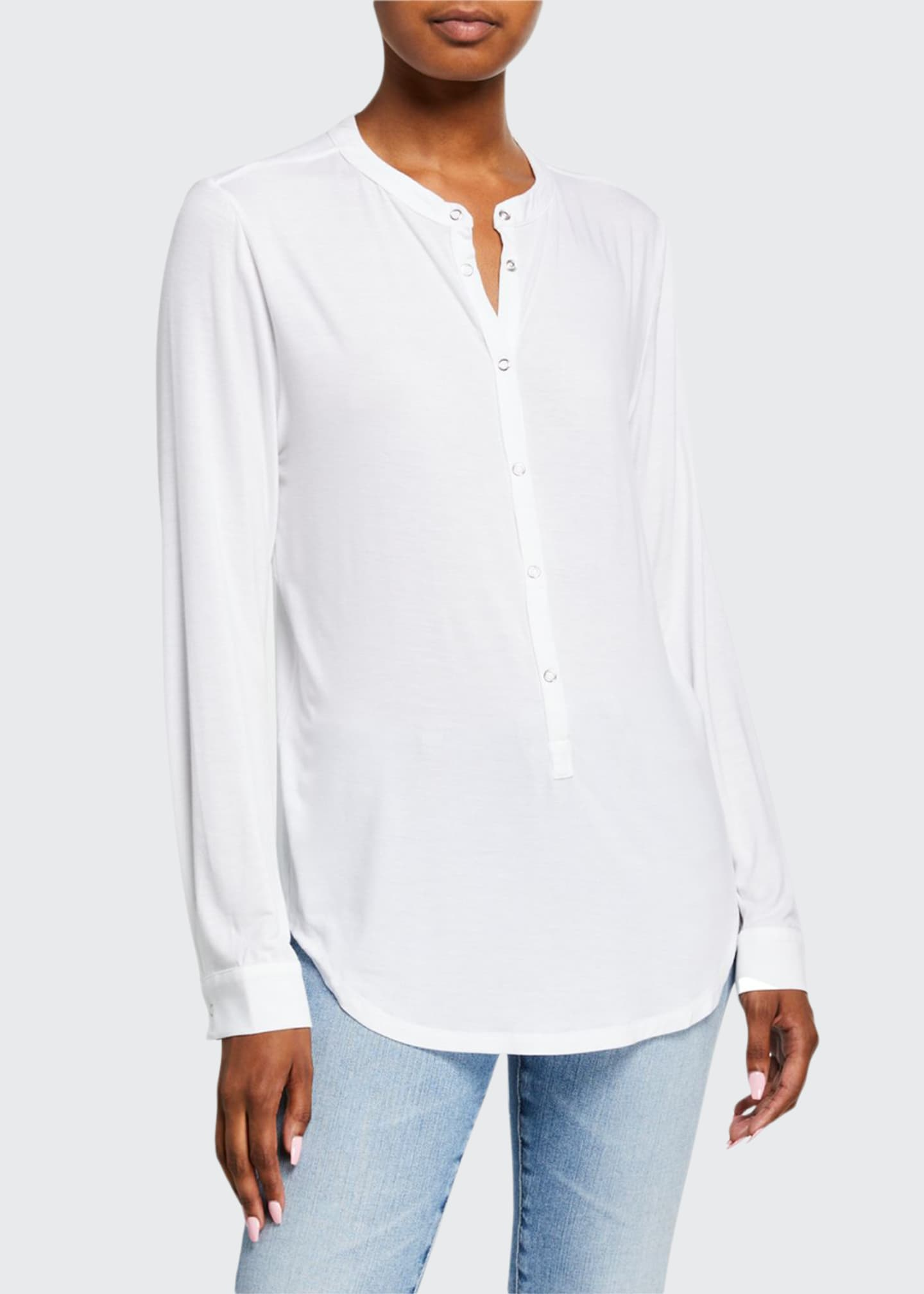 Image 1 of 1: Snap-Front Viscose Oversized Henley Top