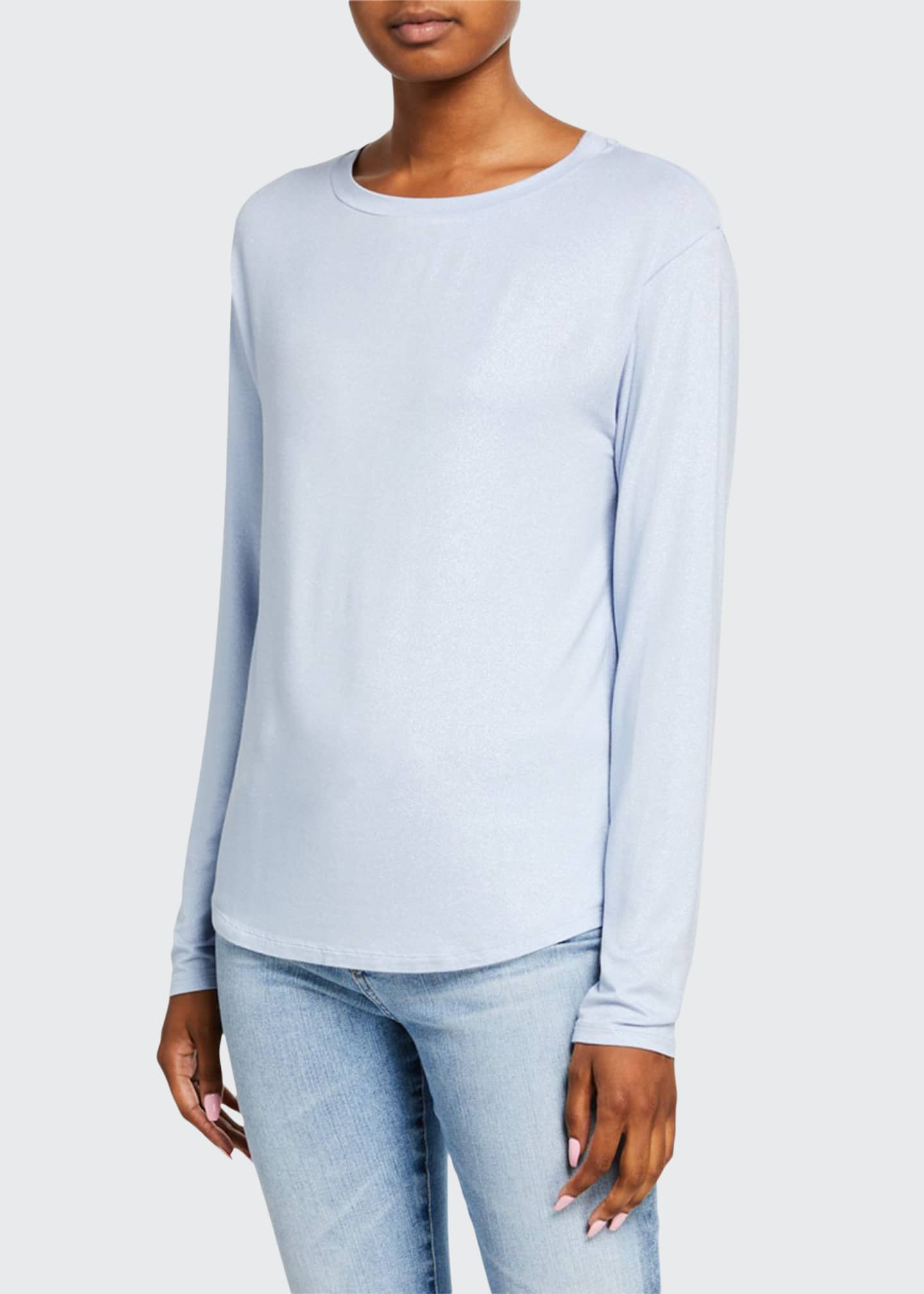 Majestic Metallic Boat-Neck Long-Sleeve Boxy Top