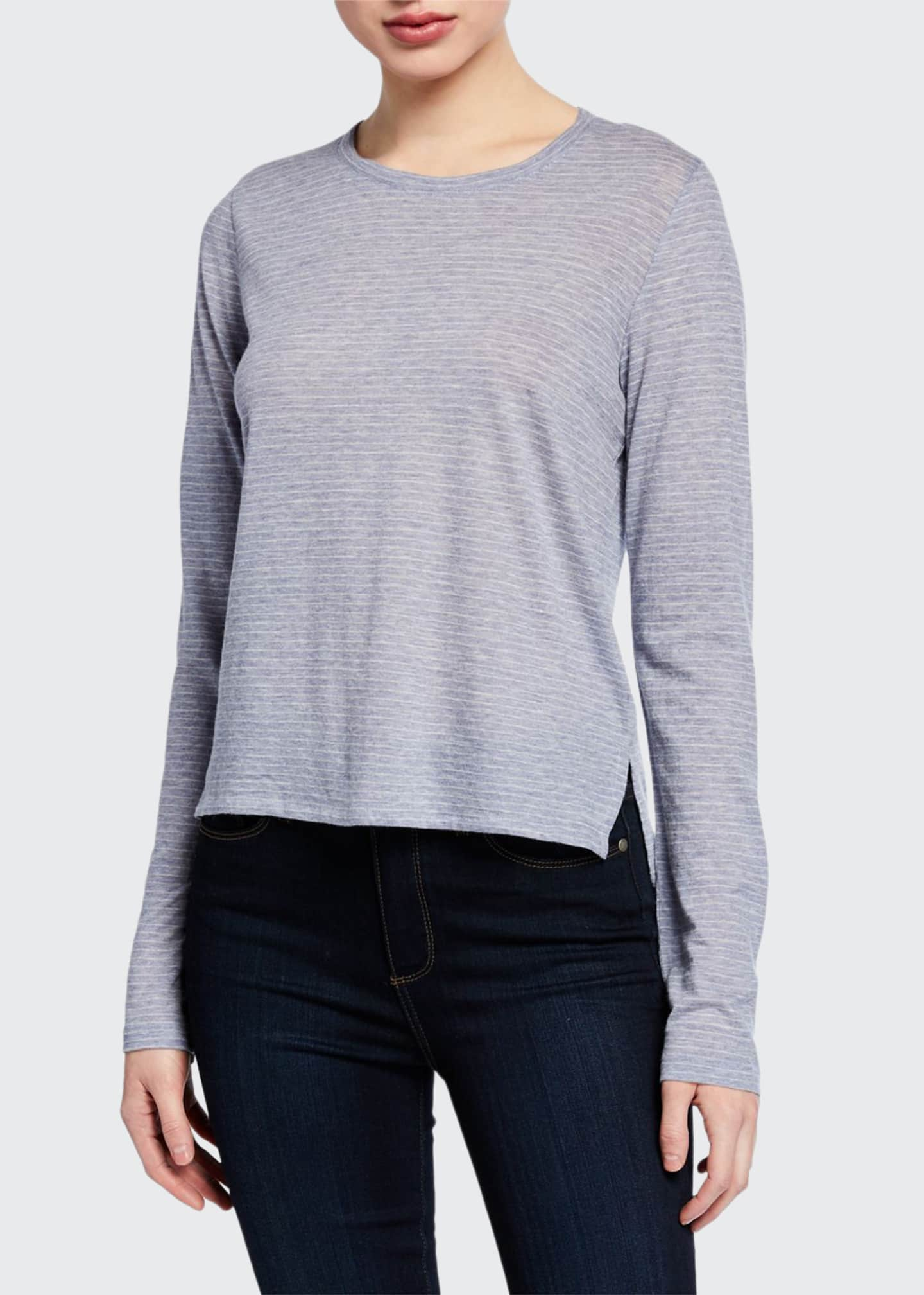 Image 1 of 2: Striped Long-Sleeve Crewneck Cotton/Cashmere Top