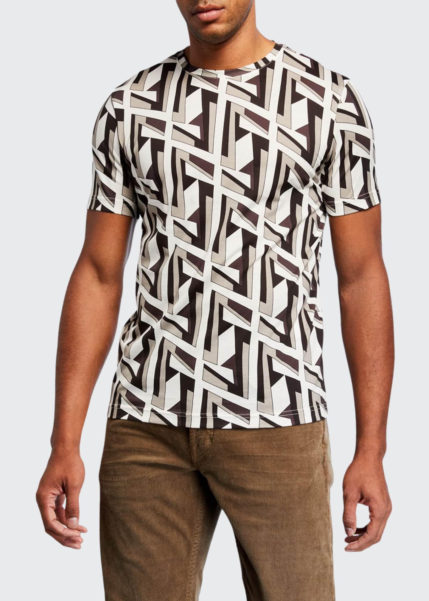 Fendi Men's Futuristic FF Logo-Print T-Shirt