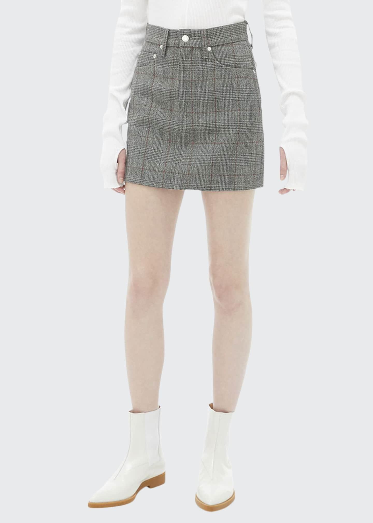 Helmut Lang Femme Plaid High-Rise Mini Skirt