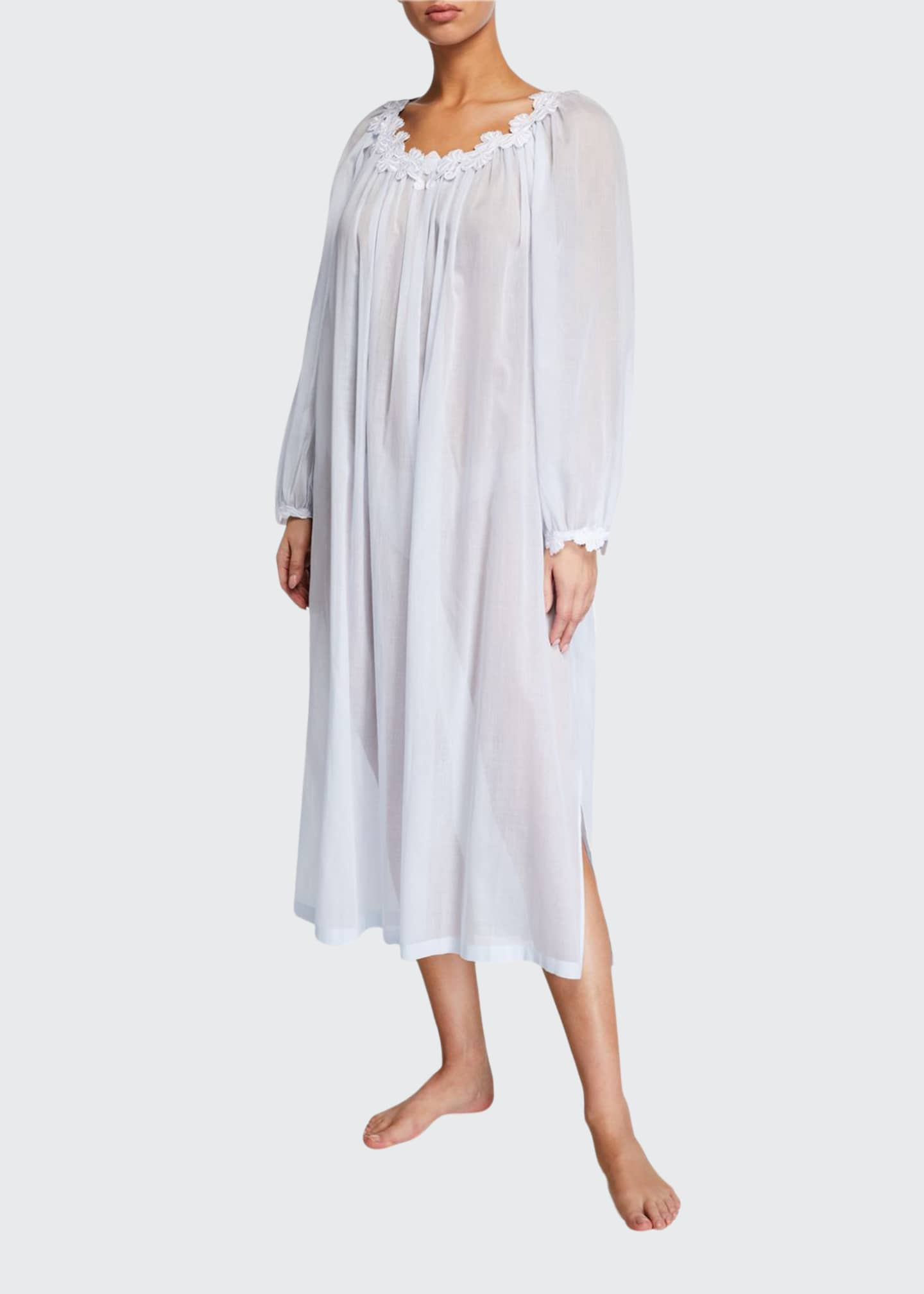 Celestine Palace Scoop-Neck Long-Sleeve Lace-Trim Nightgown