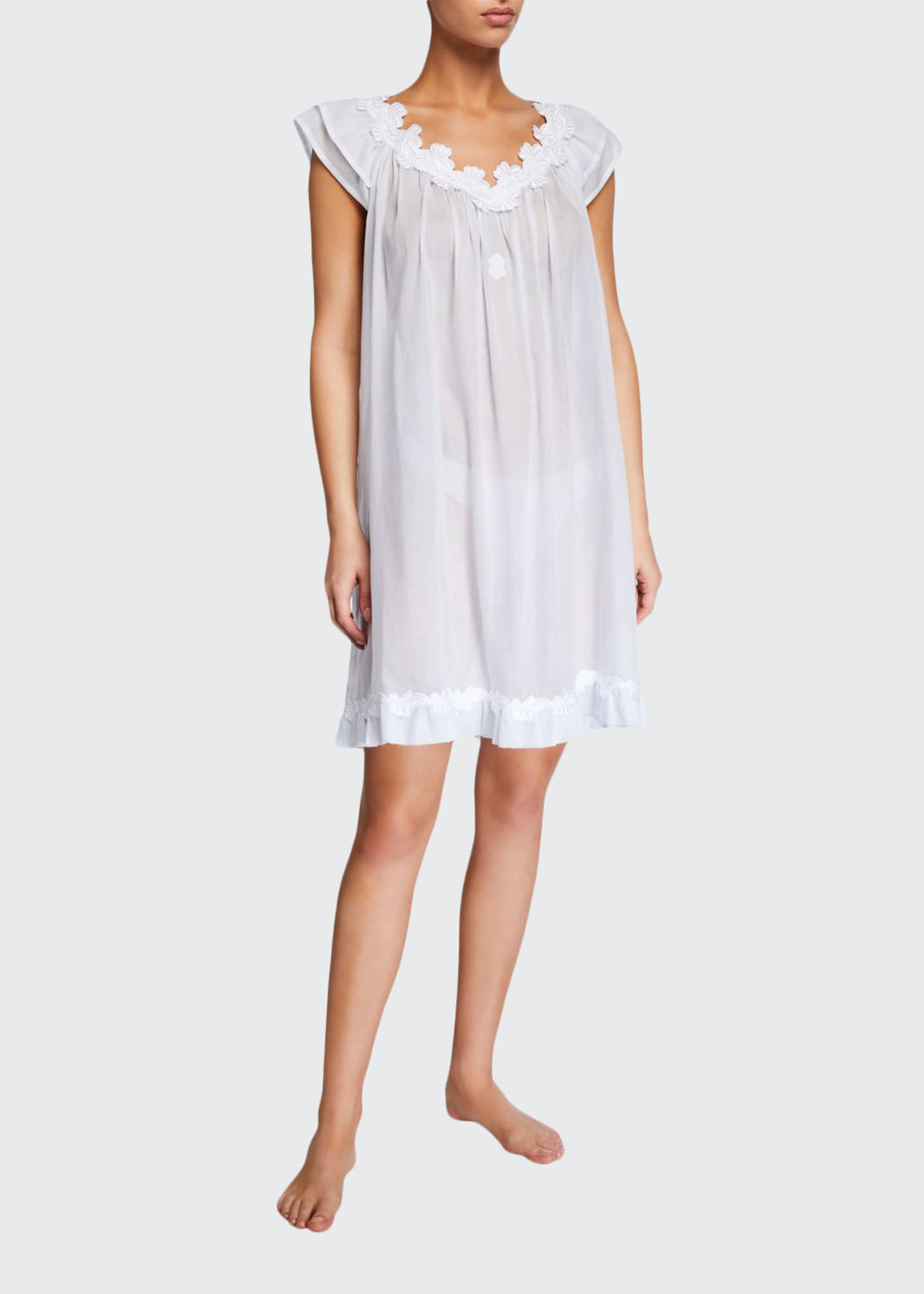 Celestine Palace Cap-Sleeve Poplin Nightgown