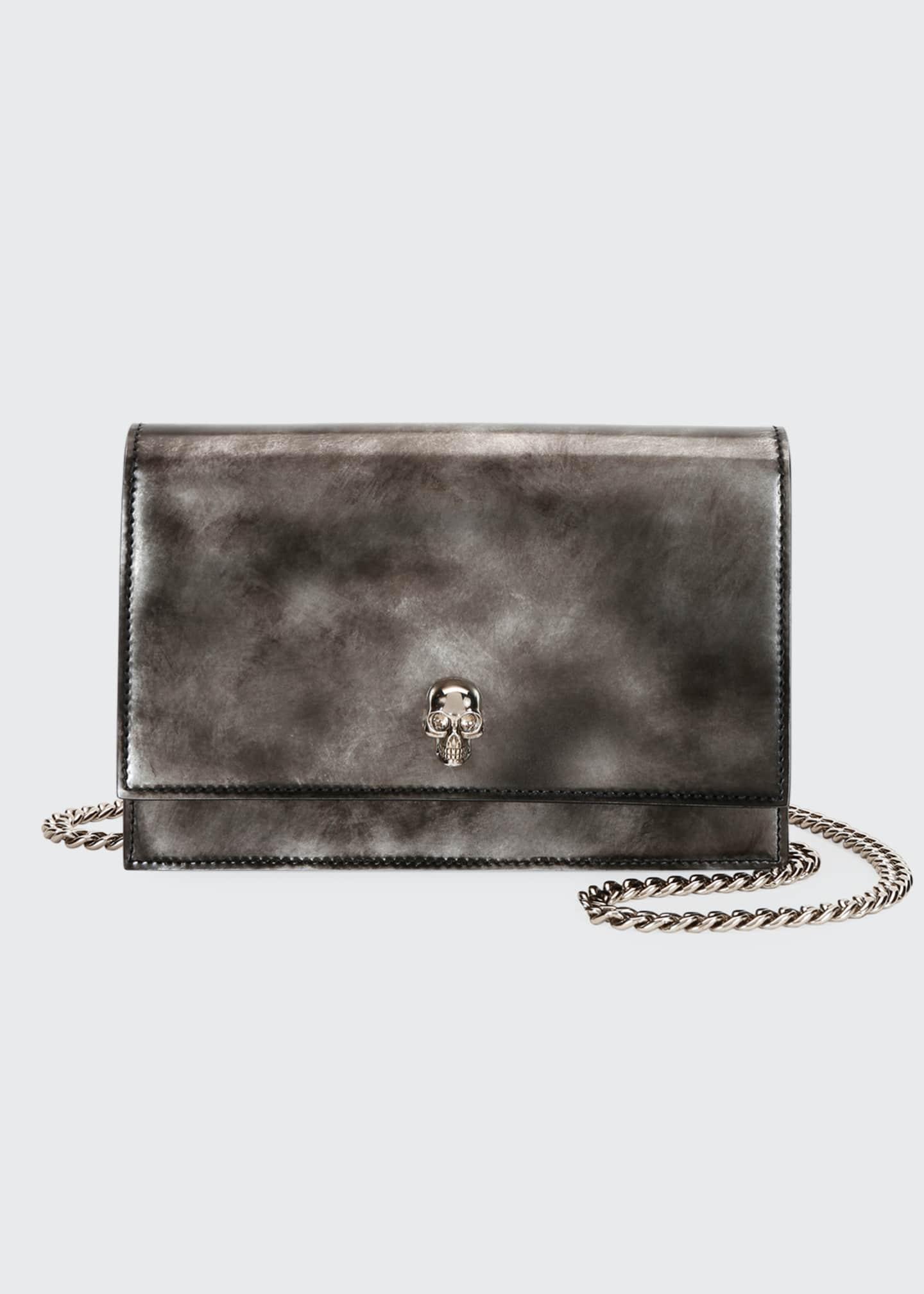 Alexander McQueen Brushed Skull Shiny Crossbody Bag